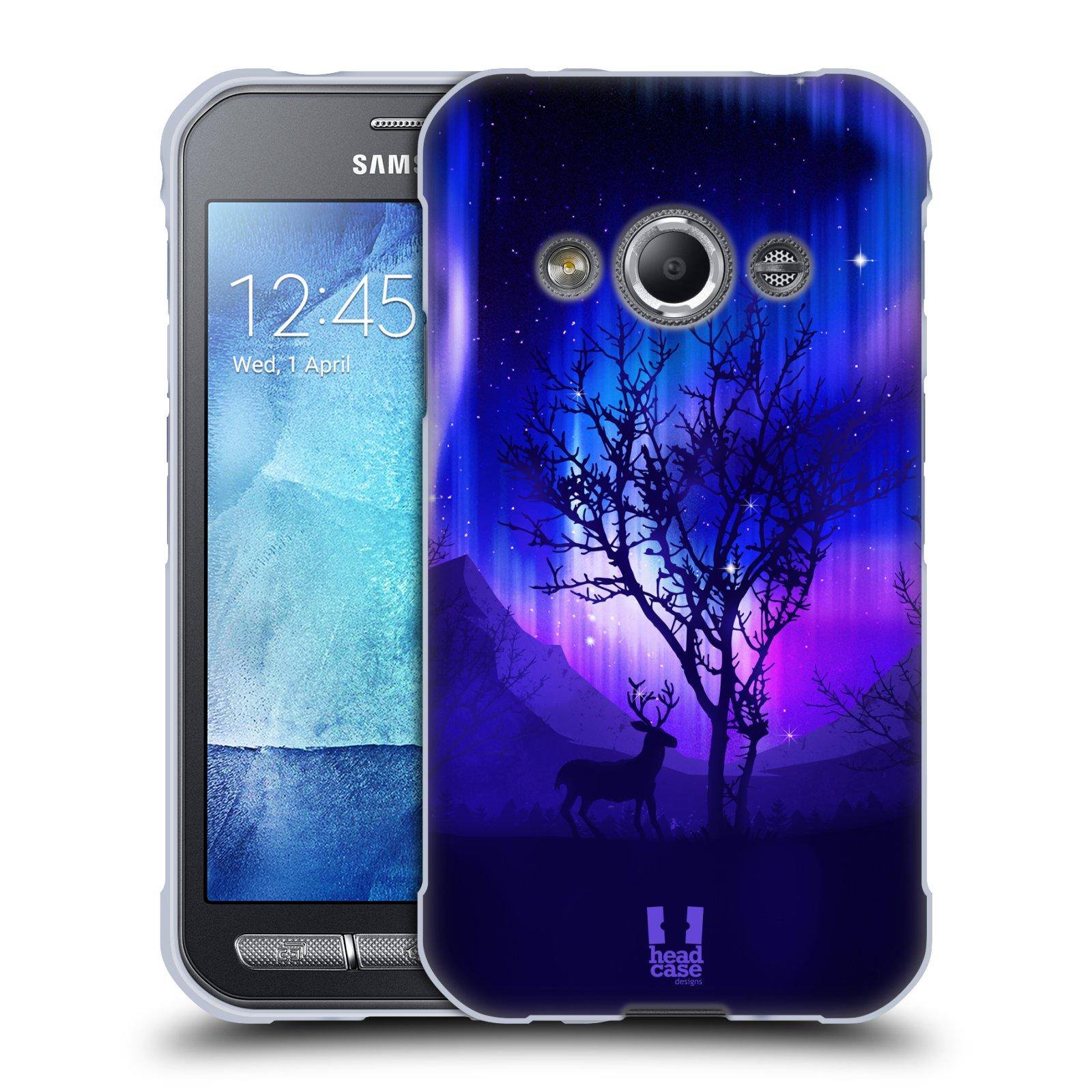 Silikonové pouzdro na mobil Samsung Galaxy Xcover 3 HEAD CASE Polární Záře Strom (Silikonový kryt či obal na mobilní telefon Samsung Galaxy Xcover 3 SM-G388F)