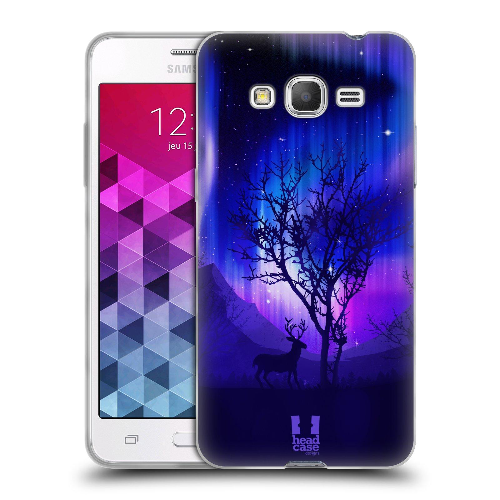 Silikonové pouzdro na mobil Samsung Galaxy Grand Prime VE HEAD CASE Polární Záře Strom