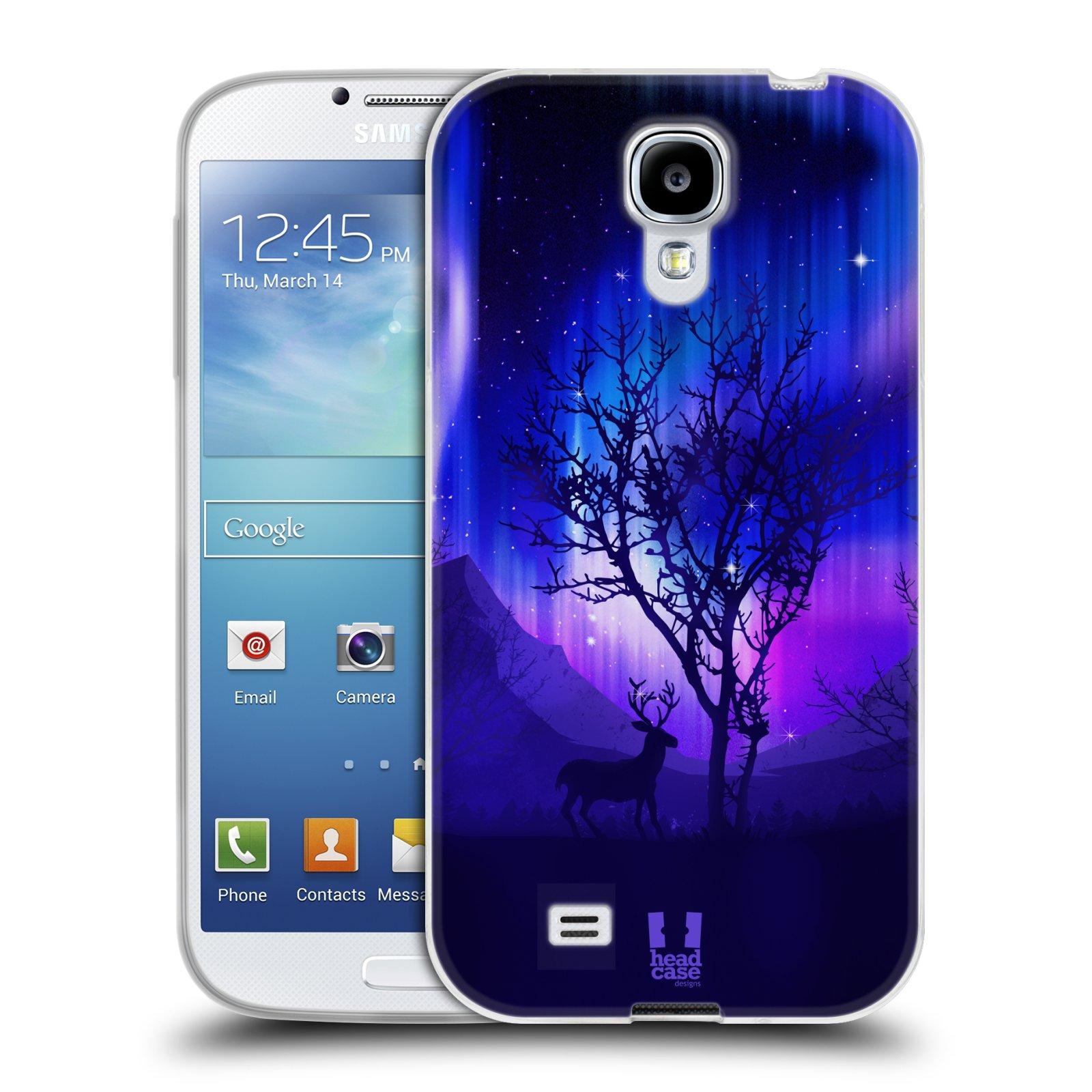 Silikonové pouzdro na mobil Samsung Galaxy S4 HEAD CASE Polární Záře Strom (Silikonový kryt či obal na mobilní telefon Samsung Galaxy S4 GT-i9505 / i9500)