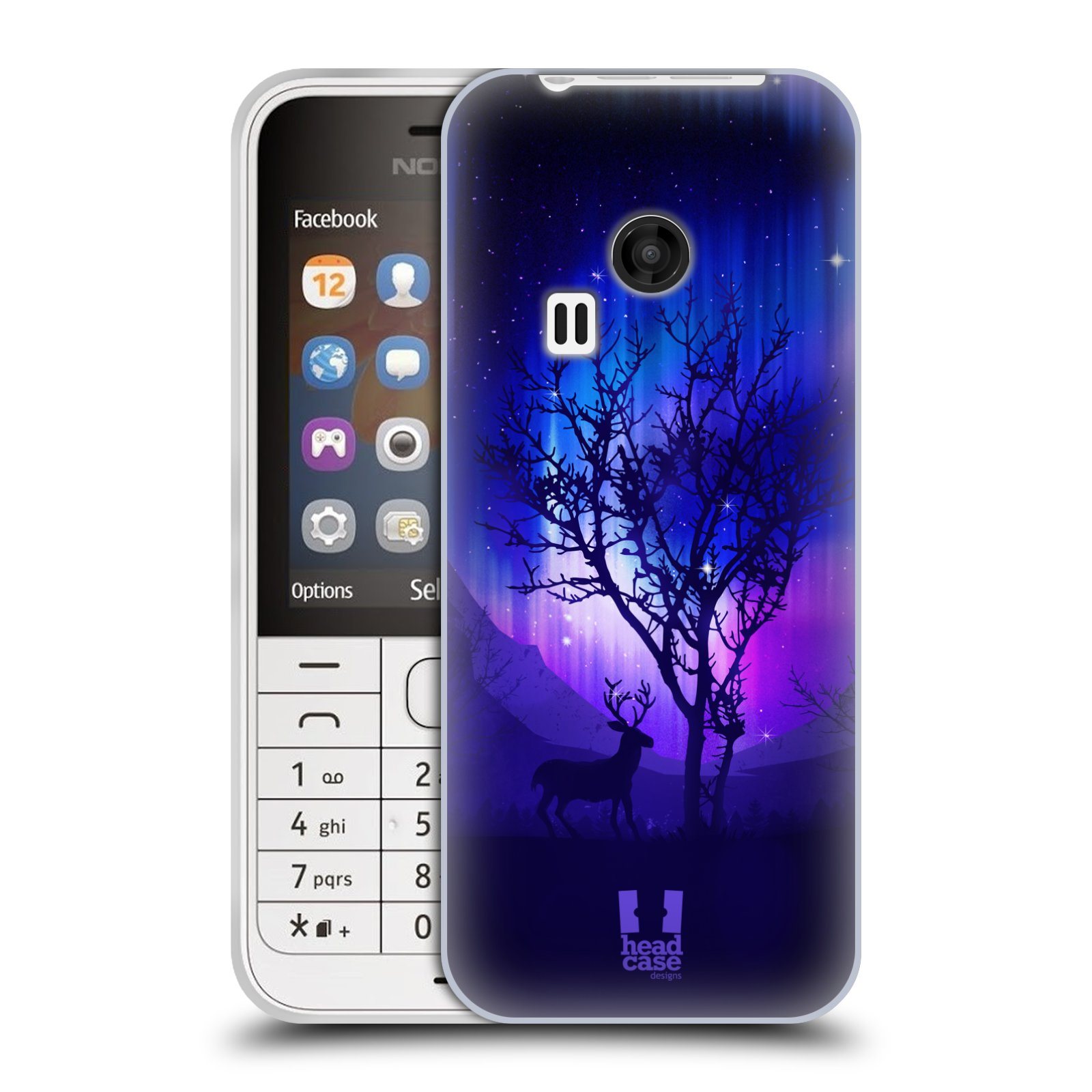 Silikonové pouzdro na mobil Nokia 220 HEAD CASE Polární Záře Strom (Silikonový kryt či obal na mobilní telefon Nokia 220 a 220 Dual SIM)