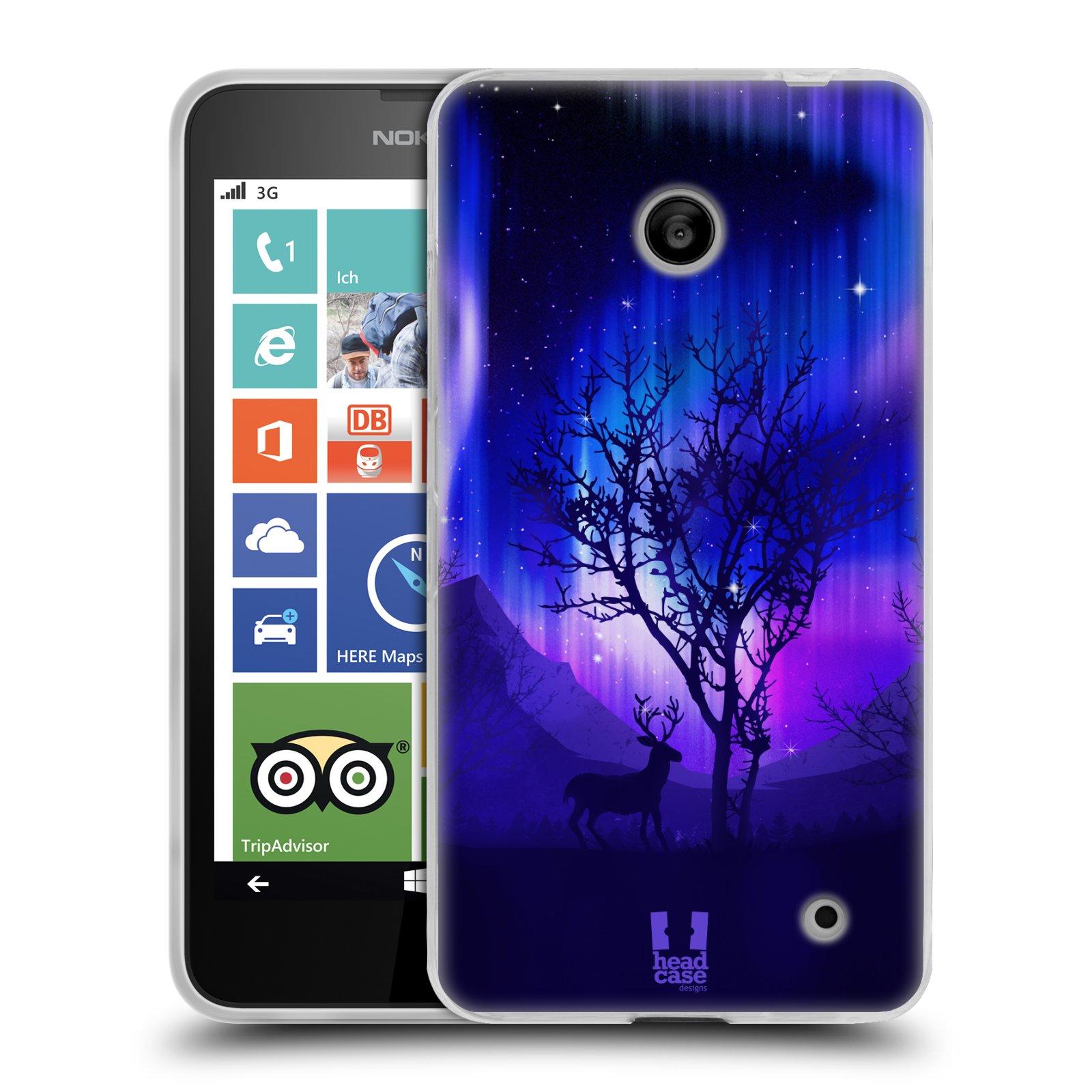 Silikonové pouzdro na mobil Nokia Lumia 630 HEAD CASE Polární Záře Strom (Silikonový kryt či obal na mobilní telefon Nokia Lumia 630 a Nokia Lumia 630 Dual SIM)