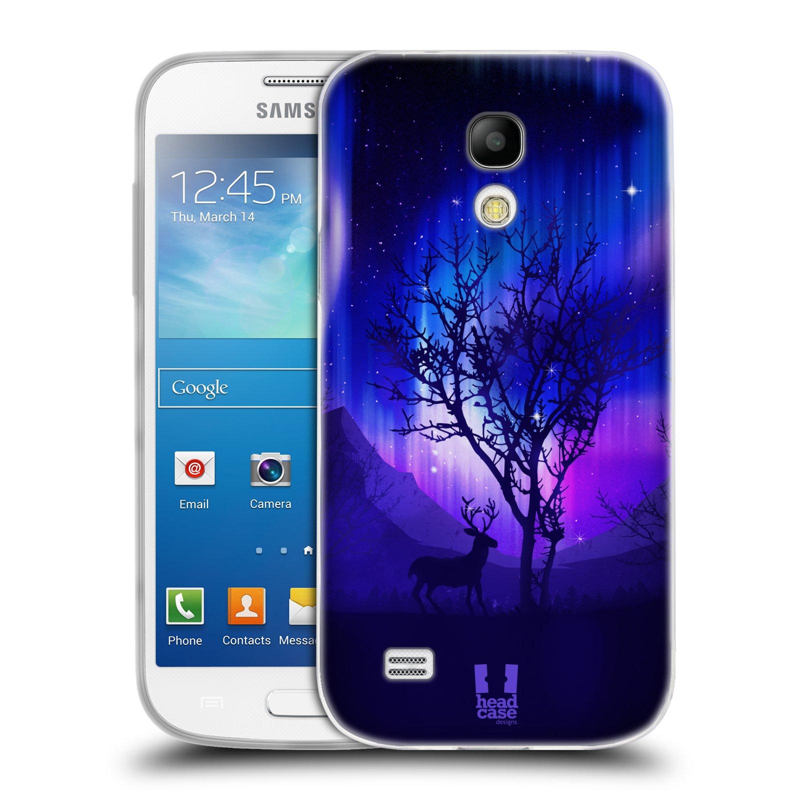 Silikonové pouzdro na mobil Samsung Galaxy S4 Mini HEAD CASE Polární Záře Strom (Silikonový kryt či obal na mobilní telefon Samsung Galaxy S4 Mini GT-i9195 / i9190)