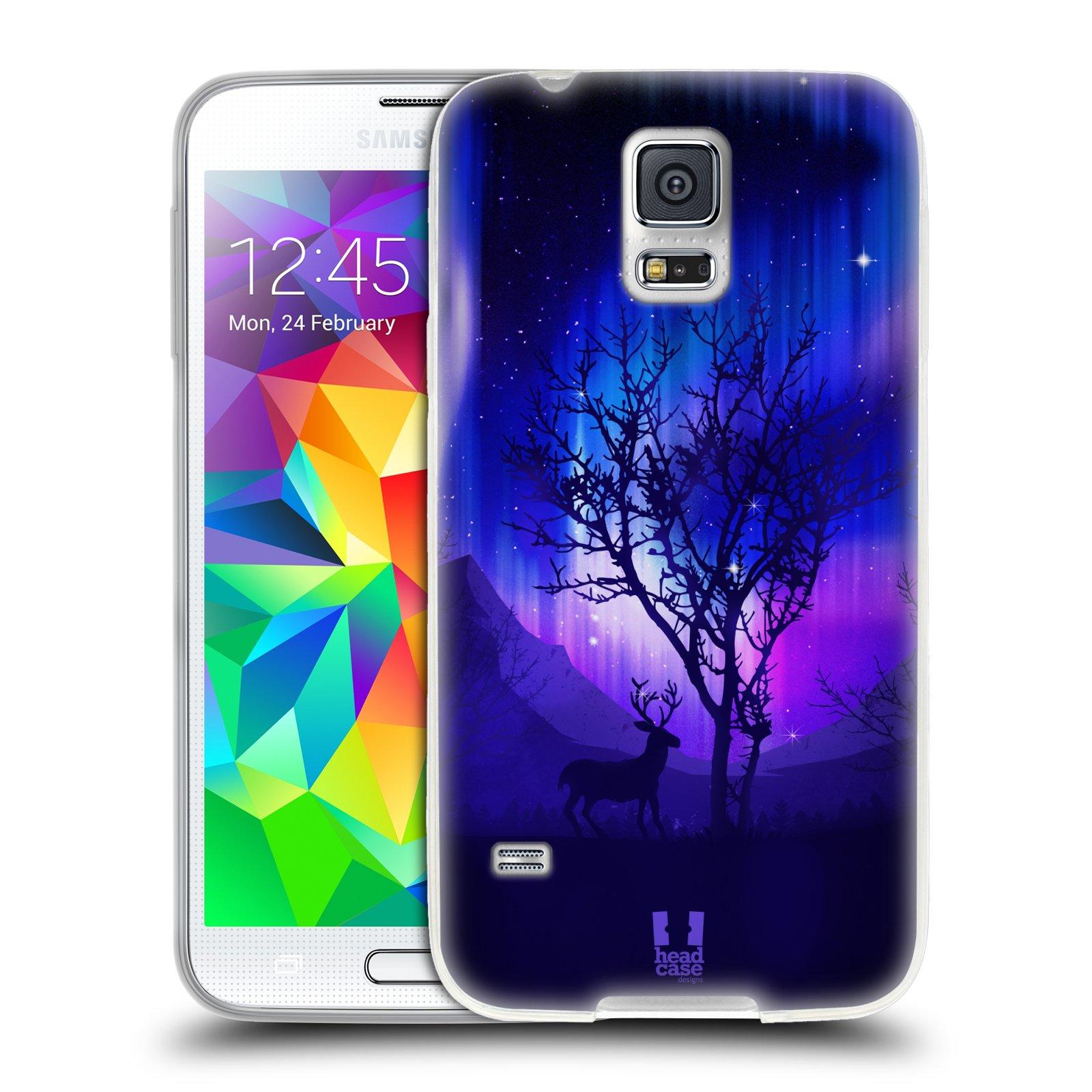 Silikonové pouzdro na mobil Samsung Galaxy S5 HEAD CASE Polární Záře Strom (Silikonový kryt či obal na mobilní telefon Samsung Galaxy S5 SM-G900F)