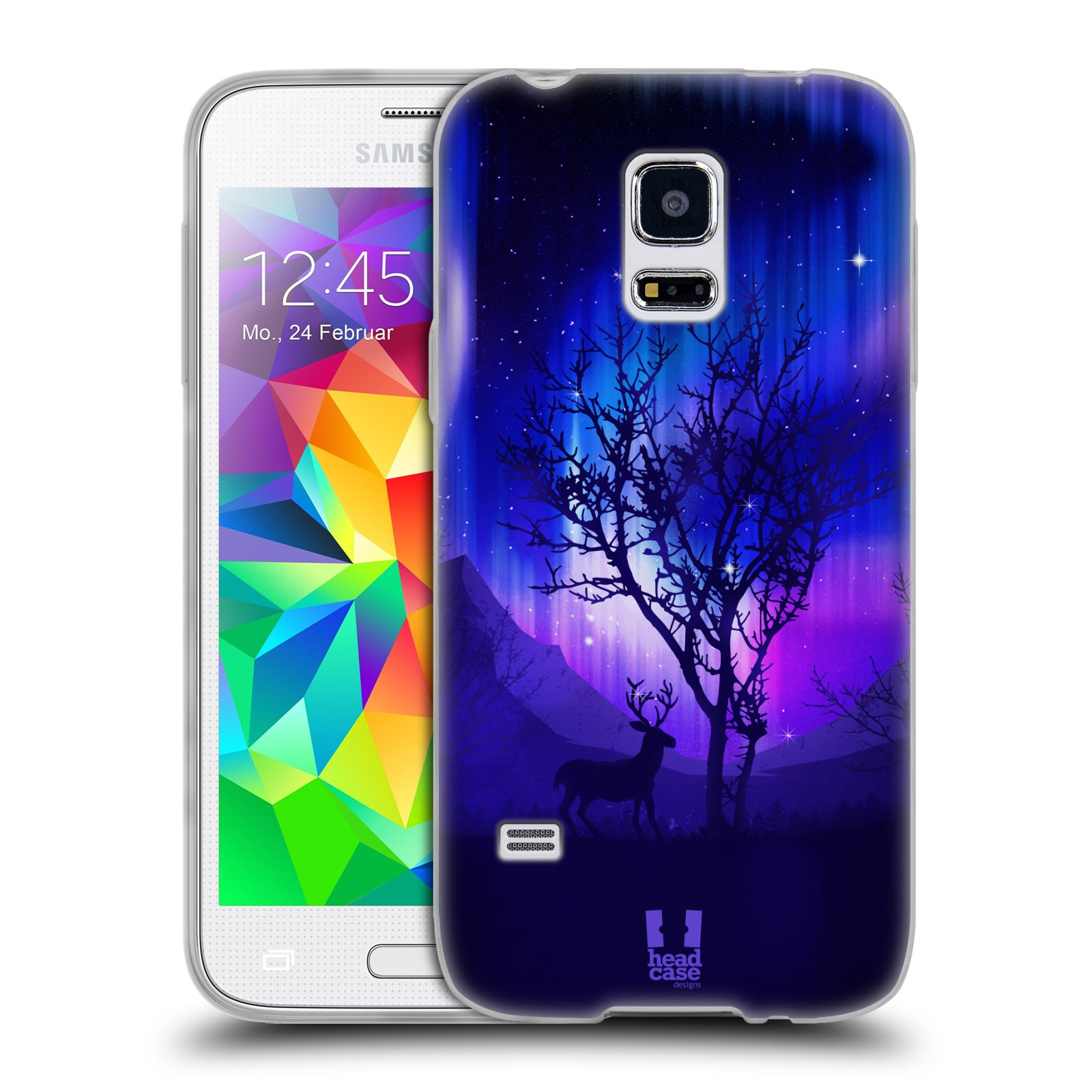 Silikonové pouzdro na mobil Samsung Galaxy S5 Mini HEAD CASE Polární Záře Strom (Silikonový kryt či obal na mobilní telefon Samsung Galaxy S5 Mini SM-G800F)