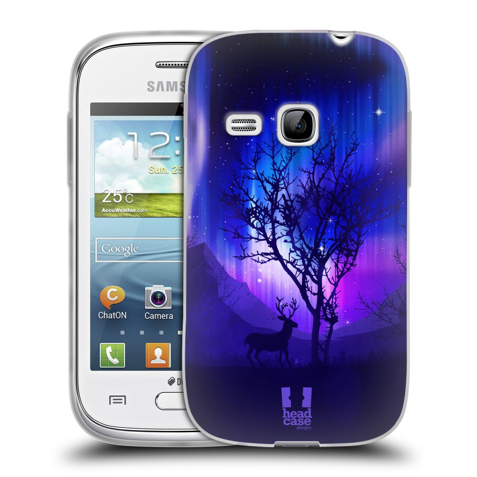Silikonové pouzdro na mobil Samsung Galaxy Young HEAD CASE Polární Záře Strom (Silikonový kryt či obal na mobilní telefon Samsung Galaxy Young GT-S6310)
