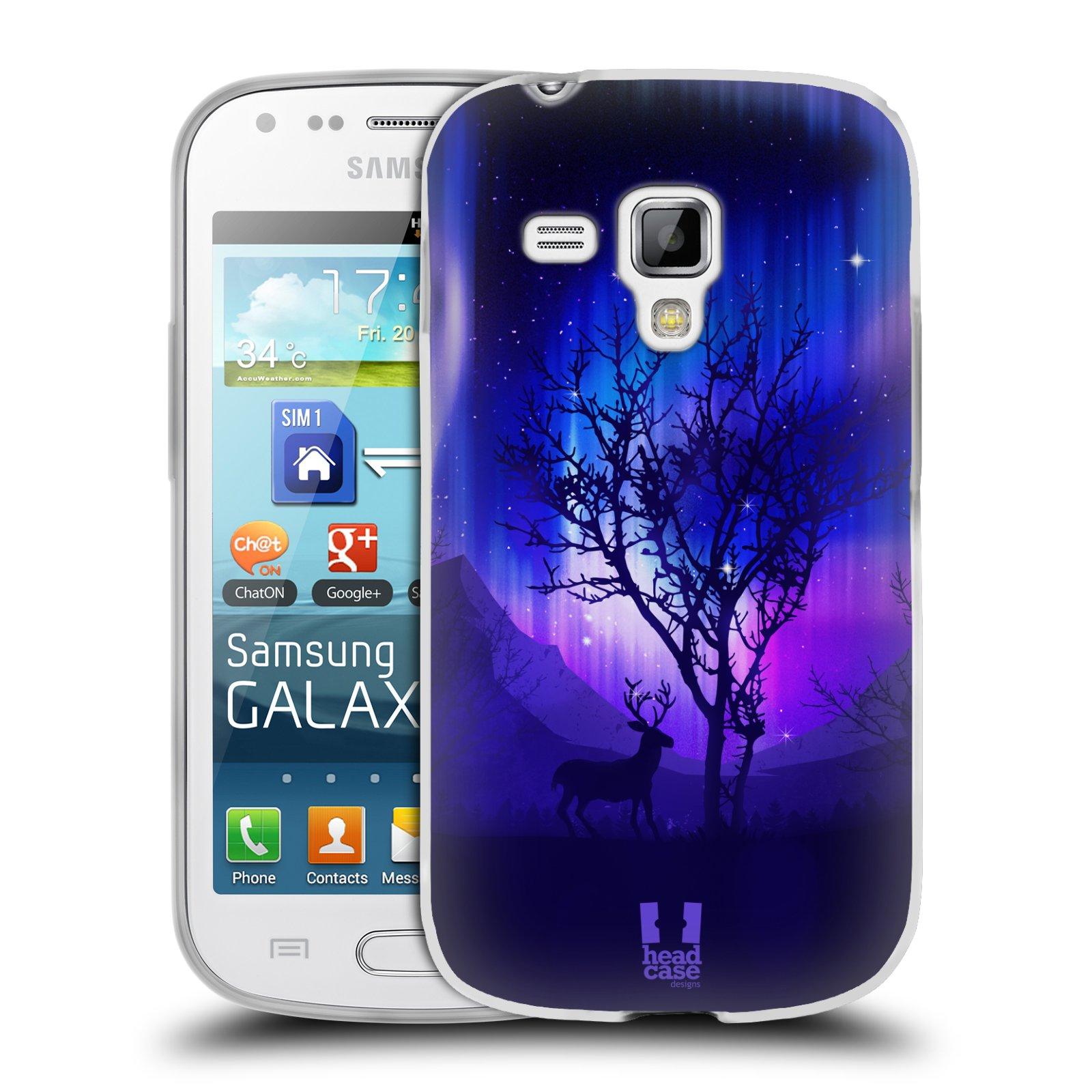 Silikonové pouzdro na mobil Samsung Galaxy S Duos HEAD CASE Polární Záře Strom (Silikonový kryt či obal na mobilní telefon Samsung Galaxy S Duos GT-S7562)