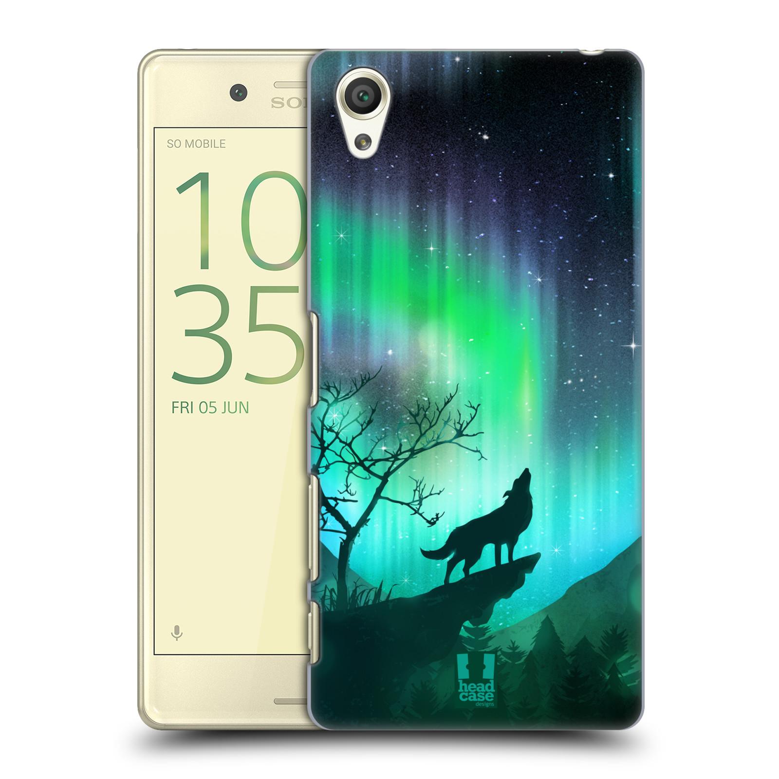 Plastové pouzdro na mobil Sony Xperia X HEAD CASE POLÁRNÍ ZÁŘE VLK