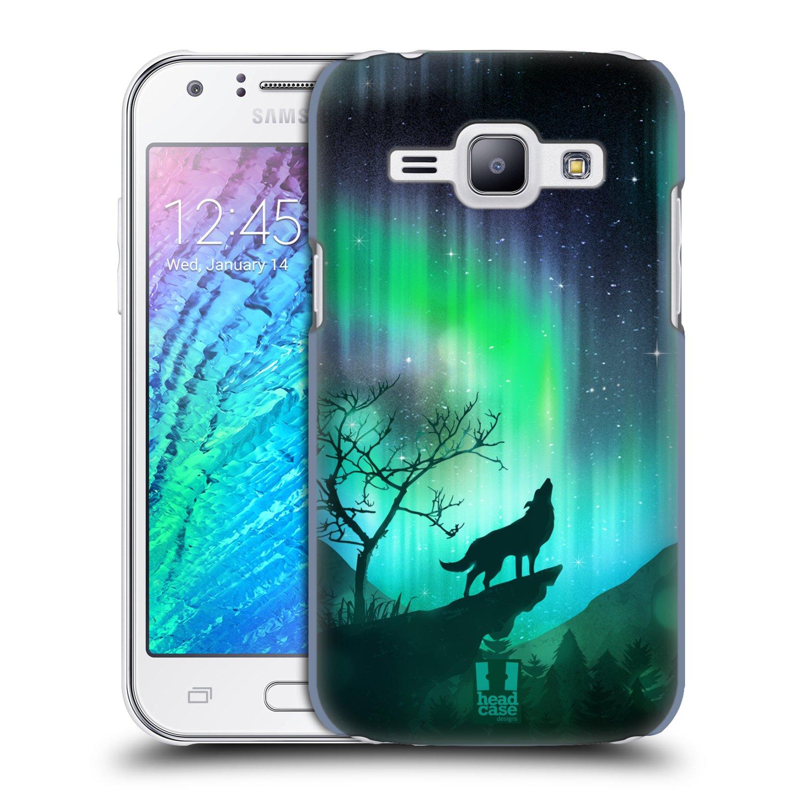 Plastové pouzdro na mobil Samsung Galaxy J1 HEAD CASE Polární Záře Vlk (Kryt či obal na mobilní telefon Samsung Galaxy J1 a J1 Duos )