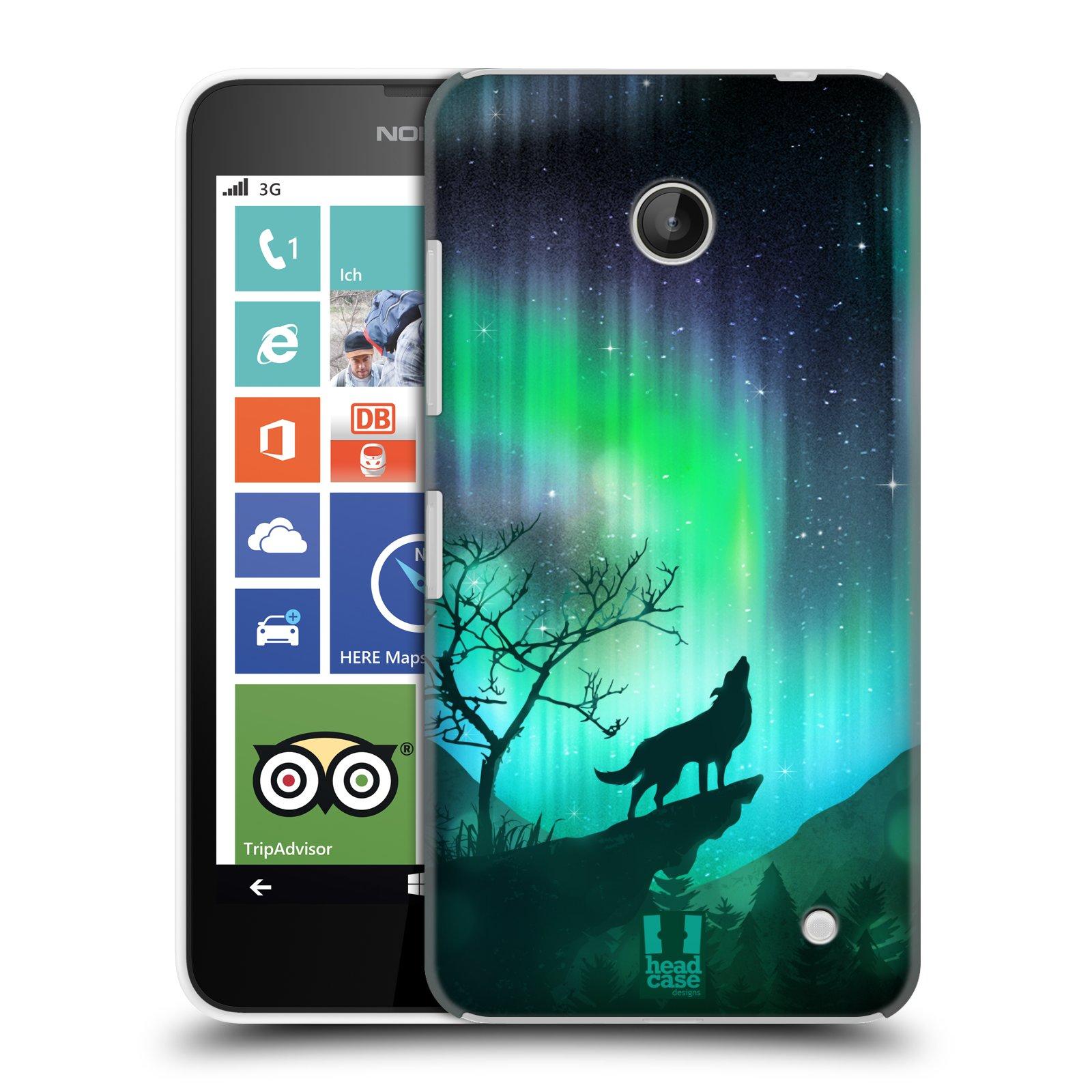 Plastové pouzdro na mobil Nokia Lumia 630 HEAD CASE Polární Záře Vlk (Kryt či obal na mobilní telefon Nokia Lumia 630 a Nokia Lumia 630 Dual SIM)