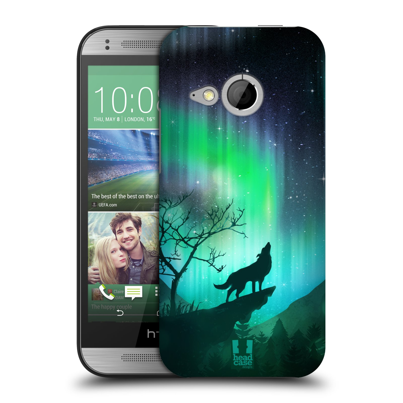 Plastové pouzdro na mobil HTC ONE Mini 2 HEAD CASE Polární Záře Vlk (Kryt či obal na mobilní telefon HTC ONE Mini 2)
