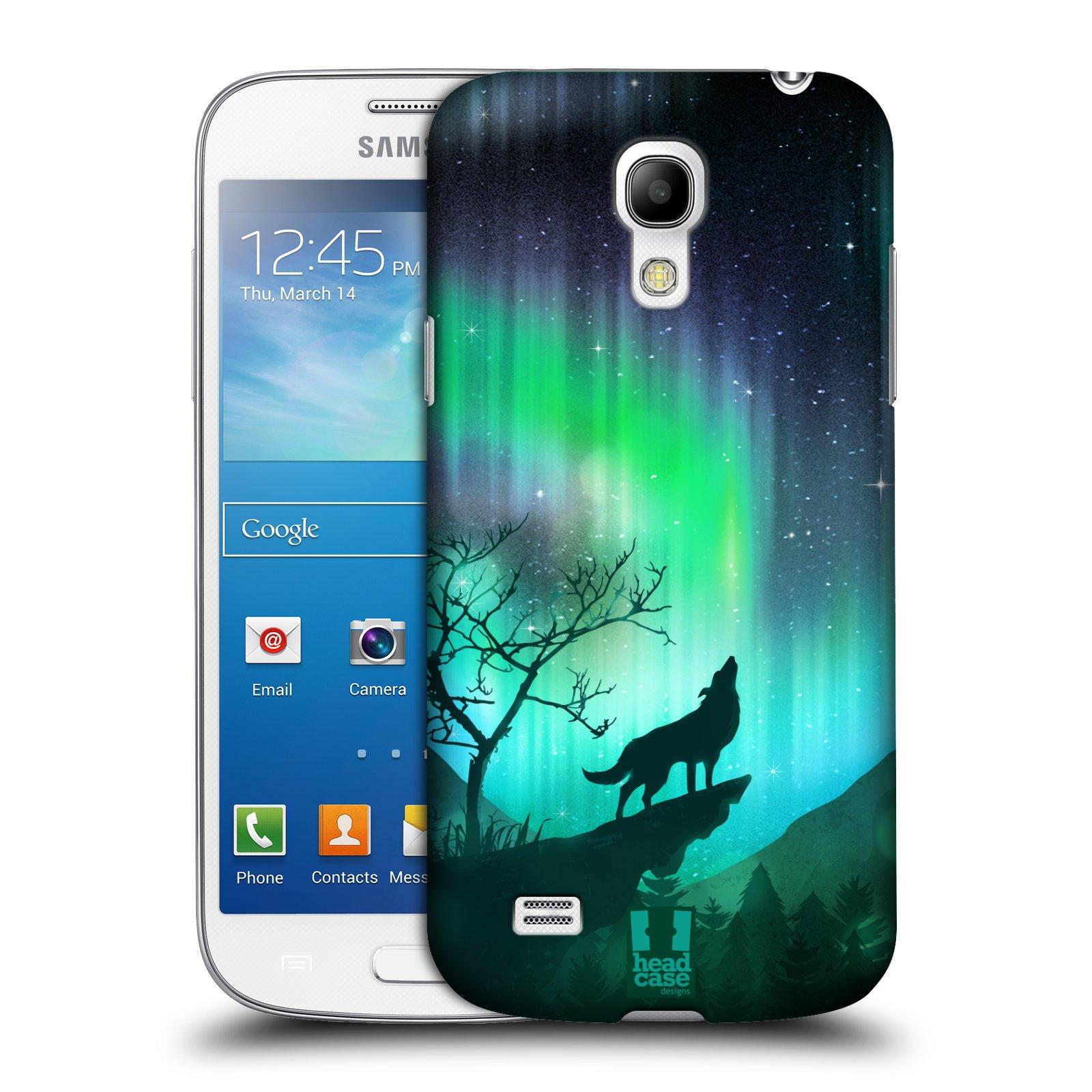 Plastové pouzdro na mobil Samsung Galaxy S4 Mini HEAD CASE Polární Záře Vlk (Kryt či obal na mobilní telefon Samsung Galaxy S4 Mini GT-i9195 / i9190)