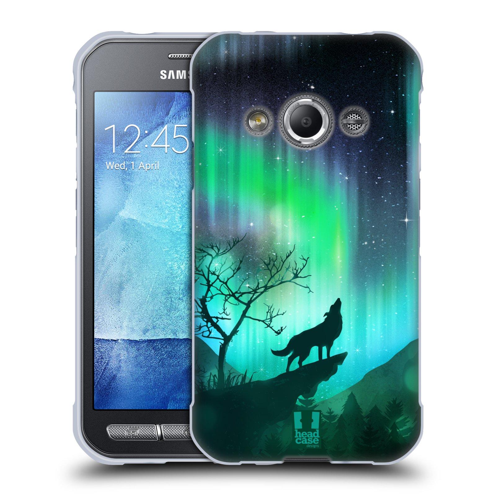 Silikonové pouzdro na mobil Samsung Galaxy Xcover 3 HEAD CASE Polární Záře Vlk (Silikonový kryt či obal na mobilní telefon Samsung Galaxy Xcover 3 SM-G388F)