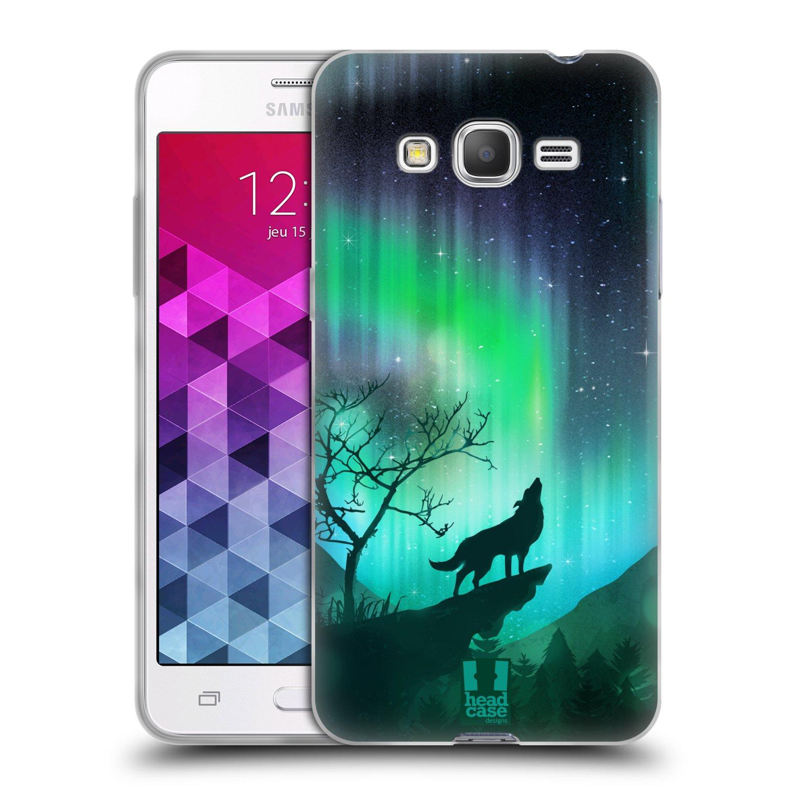 Silikonové pouzdro na mobil Samsung Galaxy Grand Prime HEAD CASE POLÁRNÍ ZÁŘE VLK