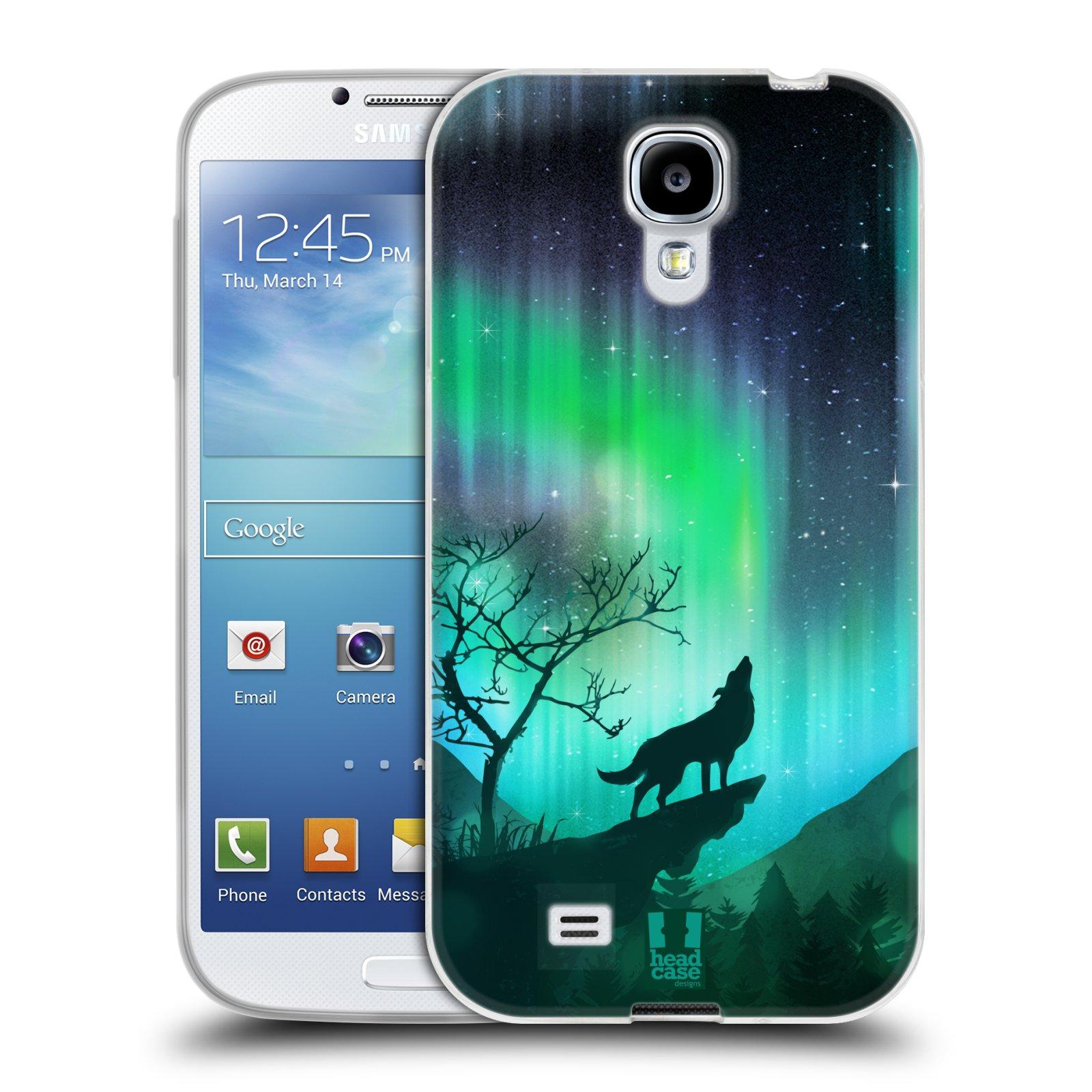 Silikonové pouzdro na mobil Samsung Galaxy S4 HEAD CASE Polární Záře Vlk (Silikonový kryt či obal na mobilní telefon Samsung Galaxy S4 GT-i9505 / i9500)