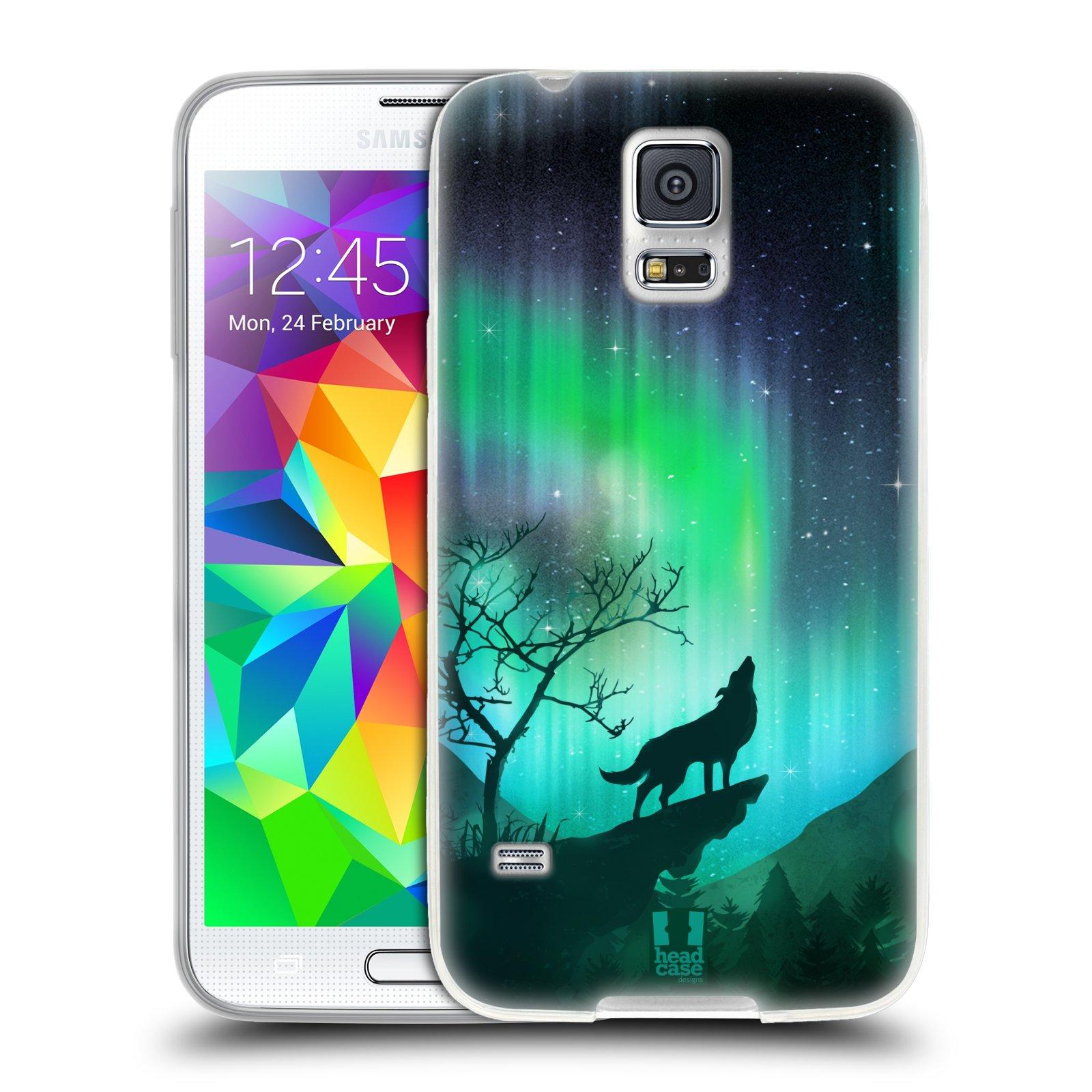 Silikonové pouzdro na mobil Samsung Galaxy S5 HEAD CASE Polární Záře Vlk (Silikonový kryt či obal na mobilní telefon Samsung Galaxy S5 SM-G900F)