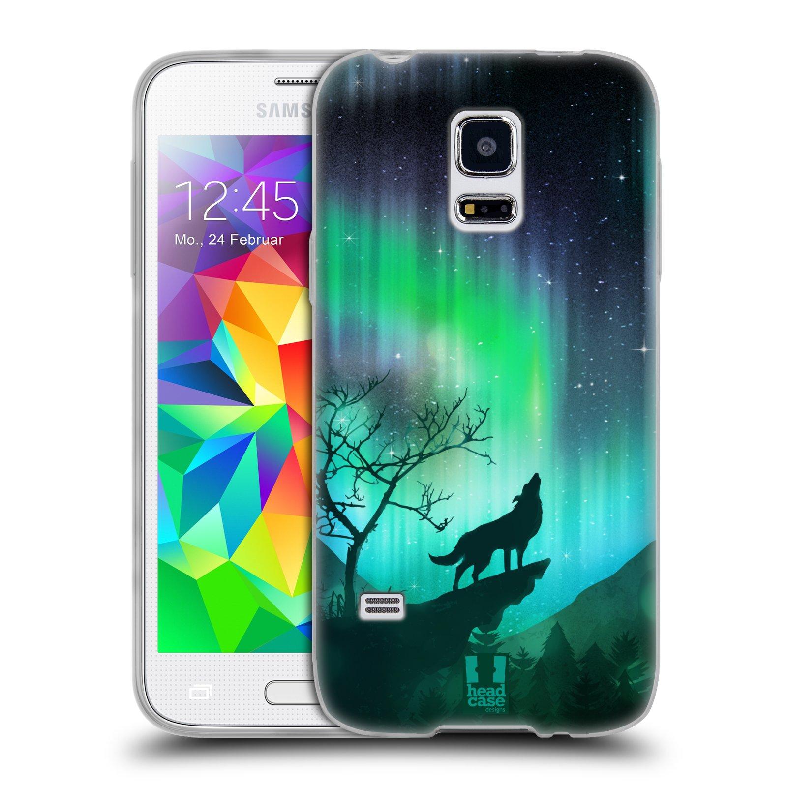 Silikonové pouzdro na mobil Samsung Galaxy S5 Mini HEAD CASE Polární Záře Vlk (Silikonový kryt či obal na mobilní telefon Samsung Galaxy S5 Mini SM-G800F)