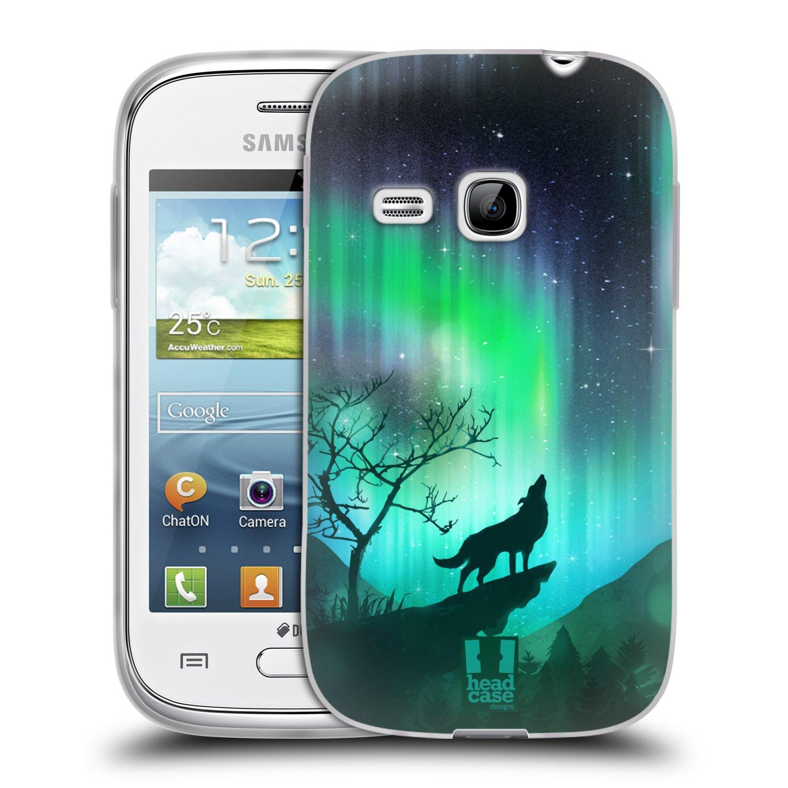Silikonové pouzdro na mobil Samsung Galaxy Young HEAD CASE Polární Záře Vlk (Silikonový kryt či obal na mobilní telefon Samsung Galaxy Young GT-S6310)