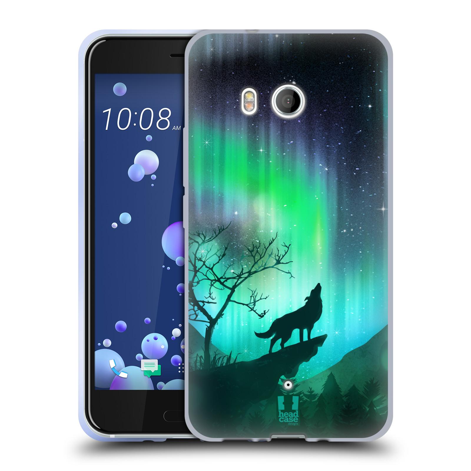 Silikonové pouzdro na mobil HTC U11 - Head Case - POLÁRNÍ ZÁŘE VLK (Silikonový kryt či obal na mobilní telefon HTC U11 s motivem POLÁRNÍ ZÁŘE VLK)