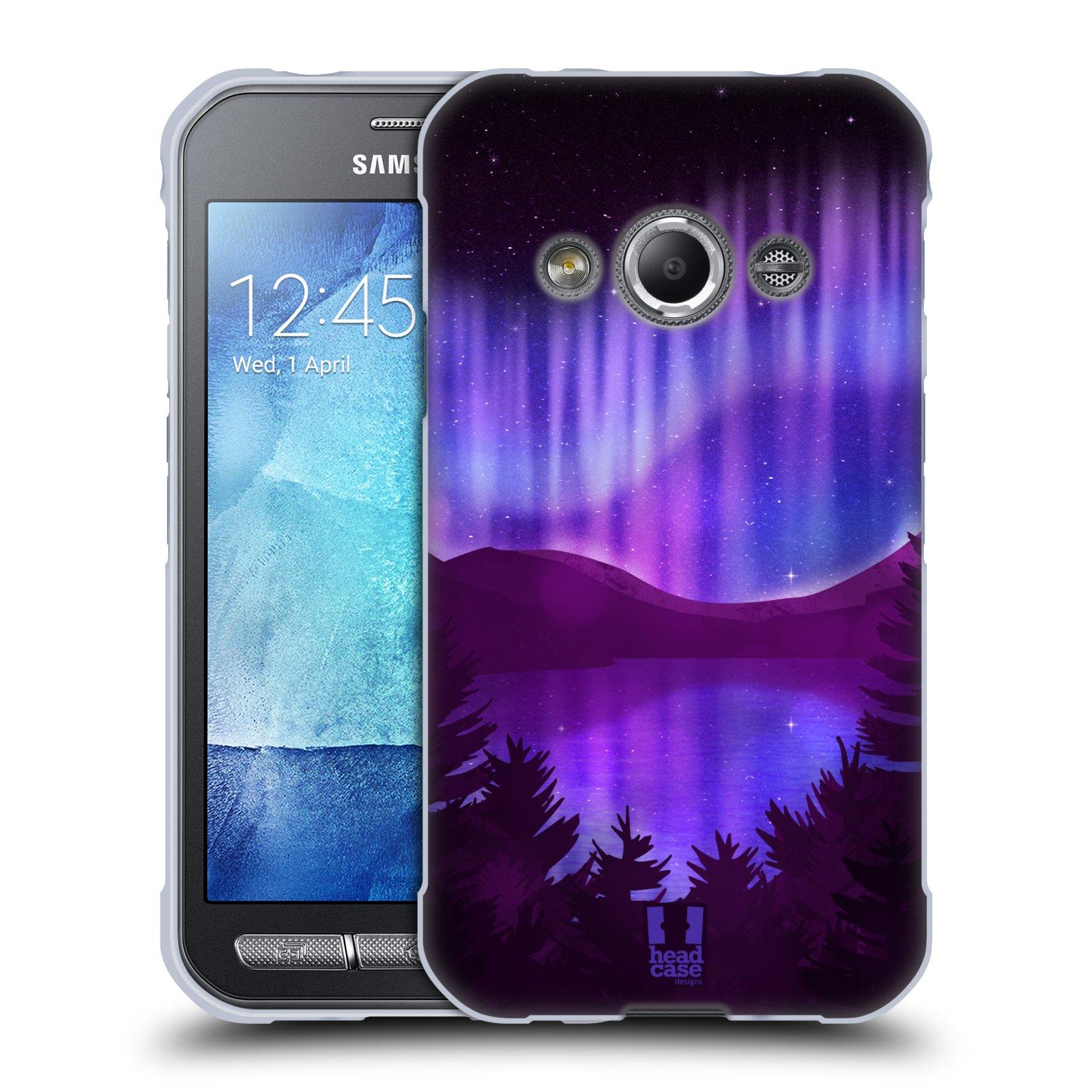 Silikonové pouzdro na mobil Samsung Galaxy Xcover 3 HEAD CASE Polární Záře Nad Jezerem (Silikonový kryt či obal na mobilní telefon Samsung Galaxy Xcover 3 SM-G388F)
