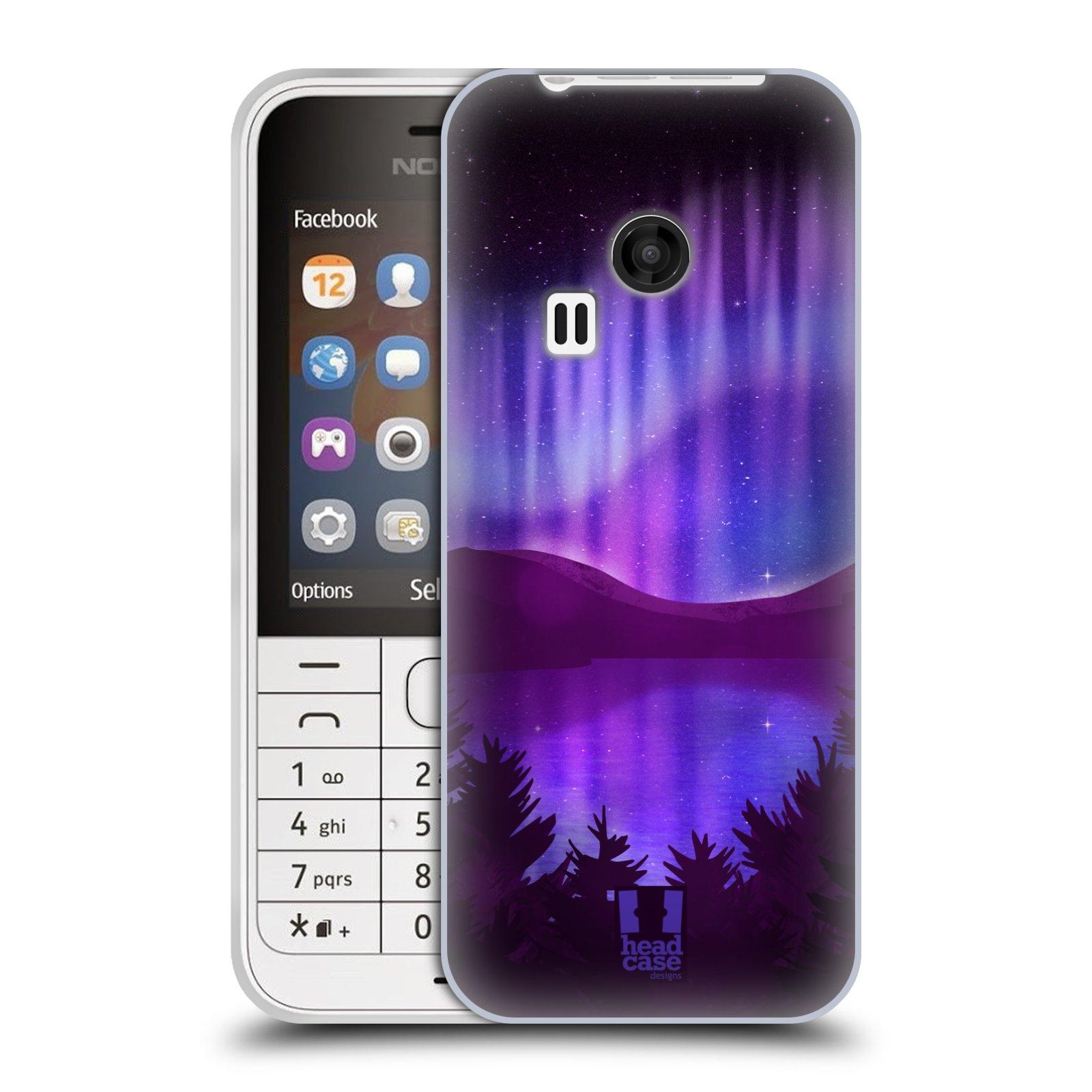 Silikonové pouzdro na mobil Nokia 220 HEAD CASE Polární Záře Nad Jezerem (Silikonový kryt či obal na mobilní telefon Nokia 220 a 220 Dual SIM)