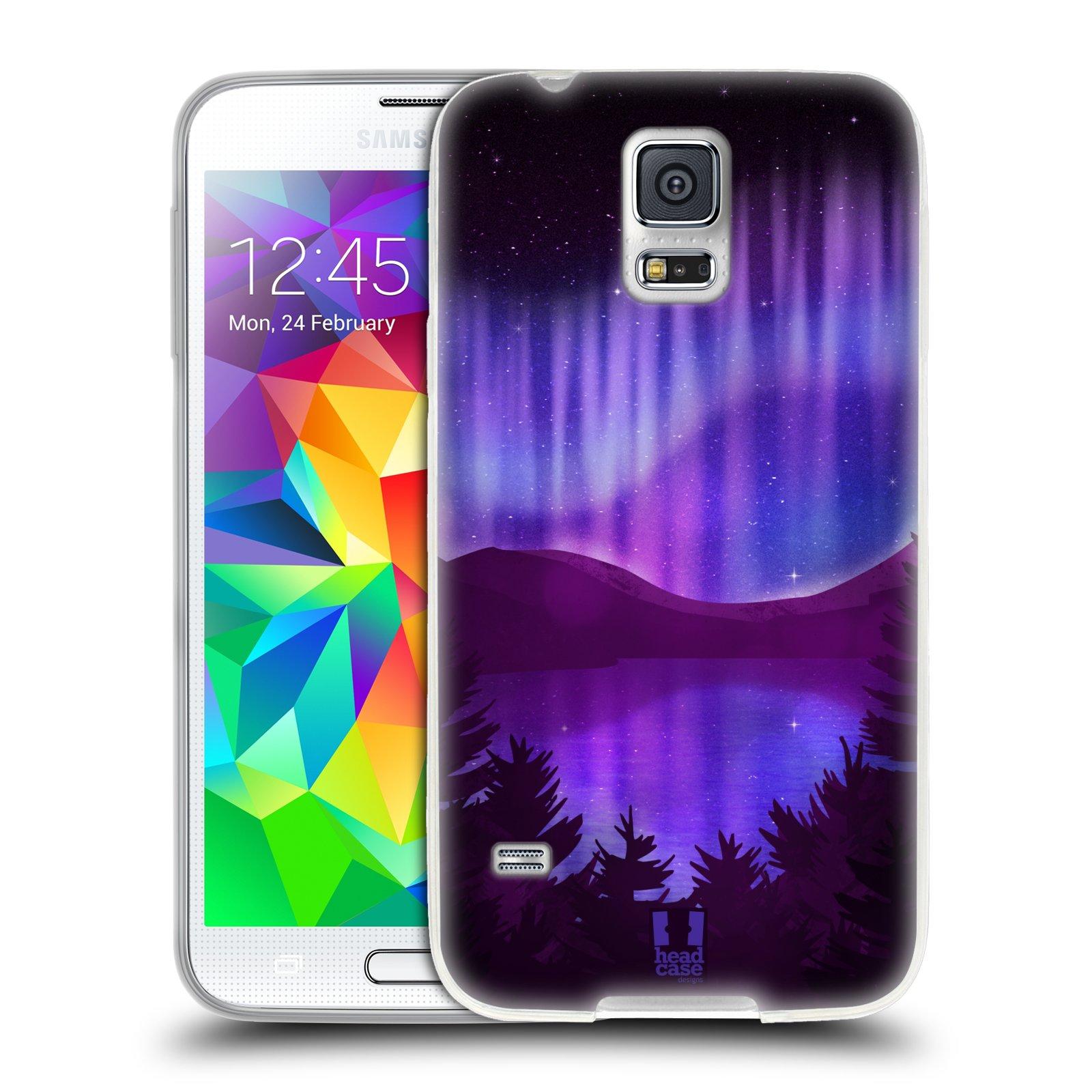 Silikonové pouzdro na mobil Samsung Galaxy S5 HEAD CASE Polární Záře Nad Jezerem (Silikonový kryt či obal na mobilní telefon Samsung Galaxy S5 SM-G900F)