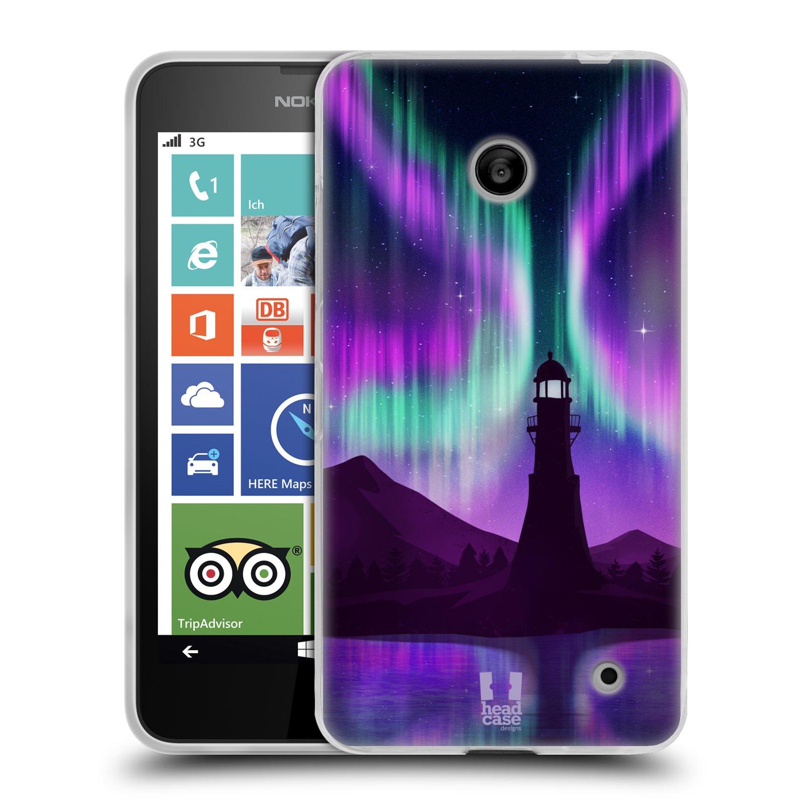 Silikonové pouzdro na mobil Nokia Lumia 630 HEAD CASE Polární Záře Maják (Silikonový kryt či obal na mobilní telefon Nokia Lumia 630 a Nokia Lumia 630 Dual SIM)