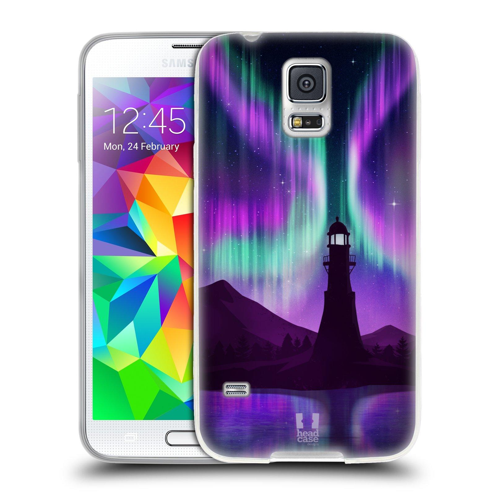 Silikonové pouzdro na mobil Samsung Galaxy S5 HEAD CASE Polární Záře Maják (Silikonový kryt či obal na mobilní telefon Samsung Galaxy S5 SM-G900F)