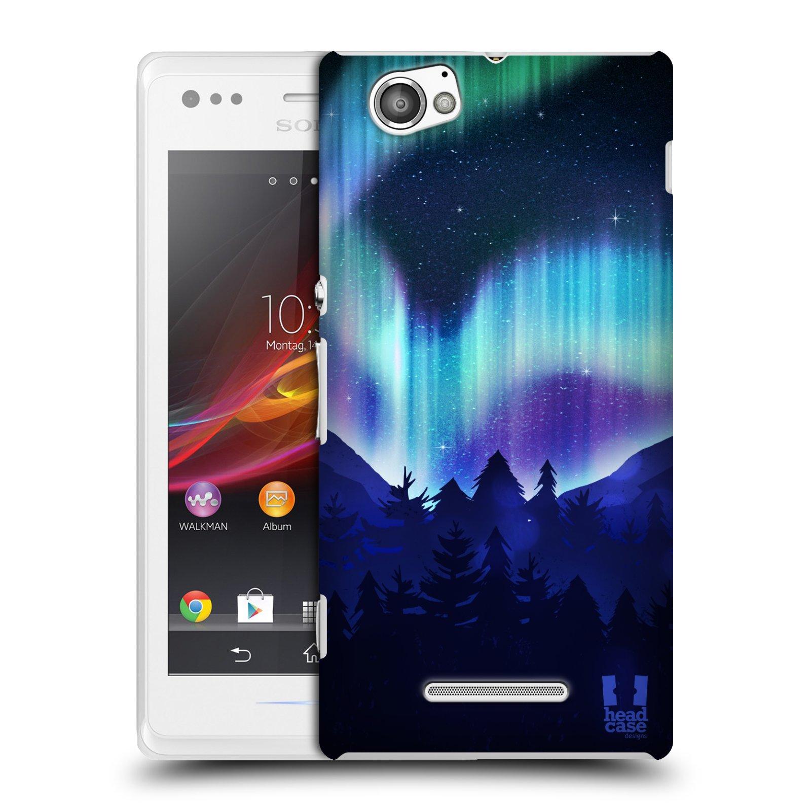 Plastové pouzdro na mobil Sony Xperia M C1905 HEAD CASE Polární Záře Borovice (Kryt či obal na mobilní telefon Sony Xperia M )