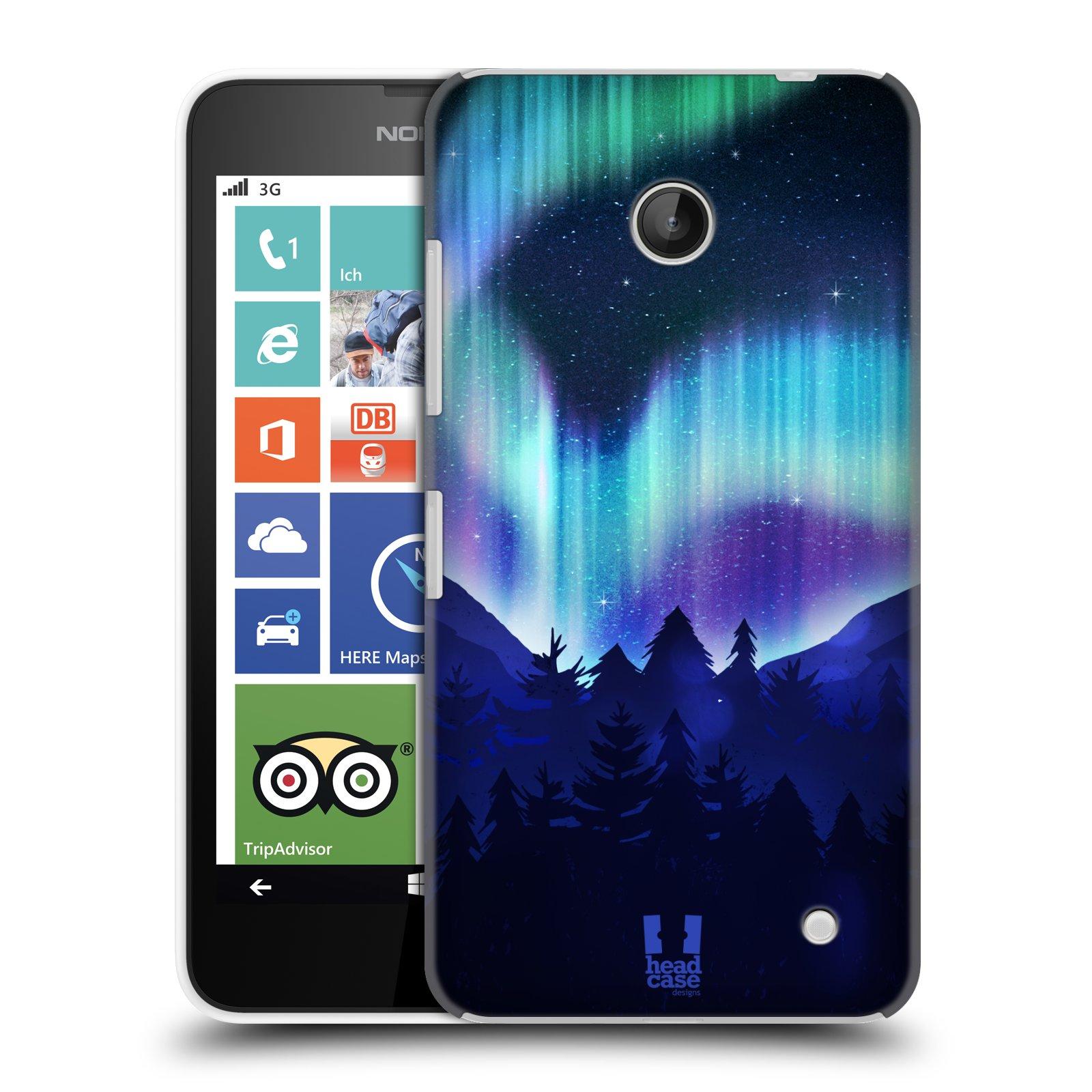 Plastové pouzdro na mobil Nokia Lumia 630 HEAD CASE Polární Záře Borovice (Kryt či obal na mobilní telefon Nokia Lumia 630 a Nokia Lumia 630 Dual SIM)