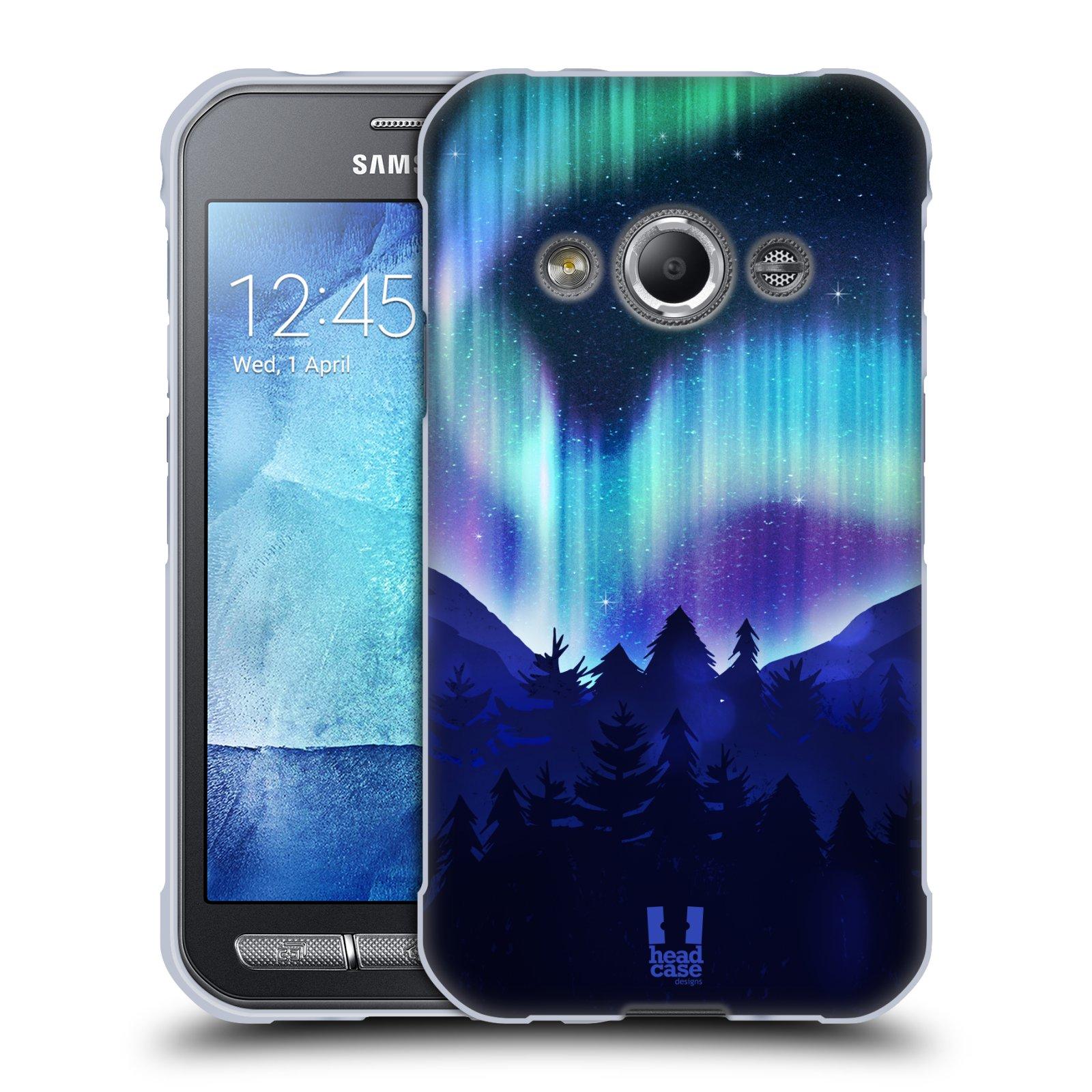 Silikonové pouzdro na mobil Samsung Galaxy Xcover 3 HEAD CASE Polární Záře Borovice (Silikonový kryt či obal na mobilní telefon Samsung Galaxy Xcover 3 SM-G388F)