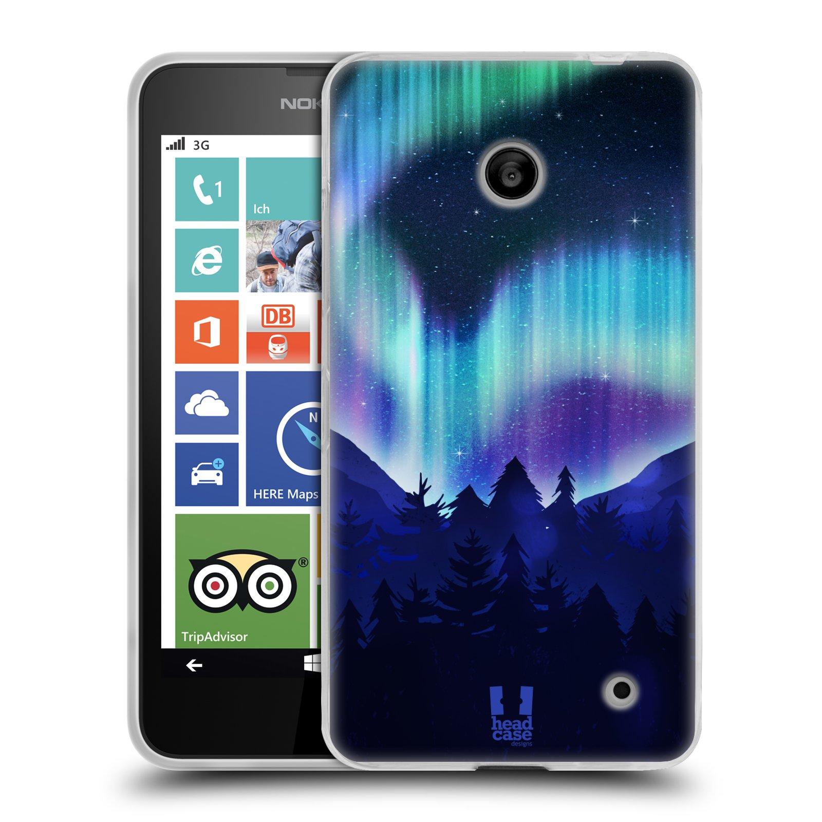 Silikonové pouzdro na mobil Nokia Lumia 630 HEAD CASE Polární Záře Borovice (Silikonový kryt či obal na mobilní telefon Nokia Lumia 630 a Nokia Lumia 630 Dual SIM)
