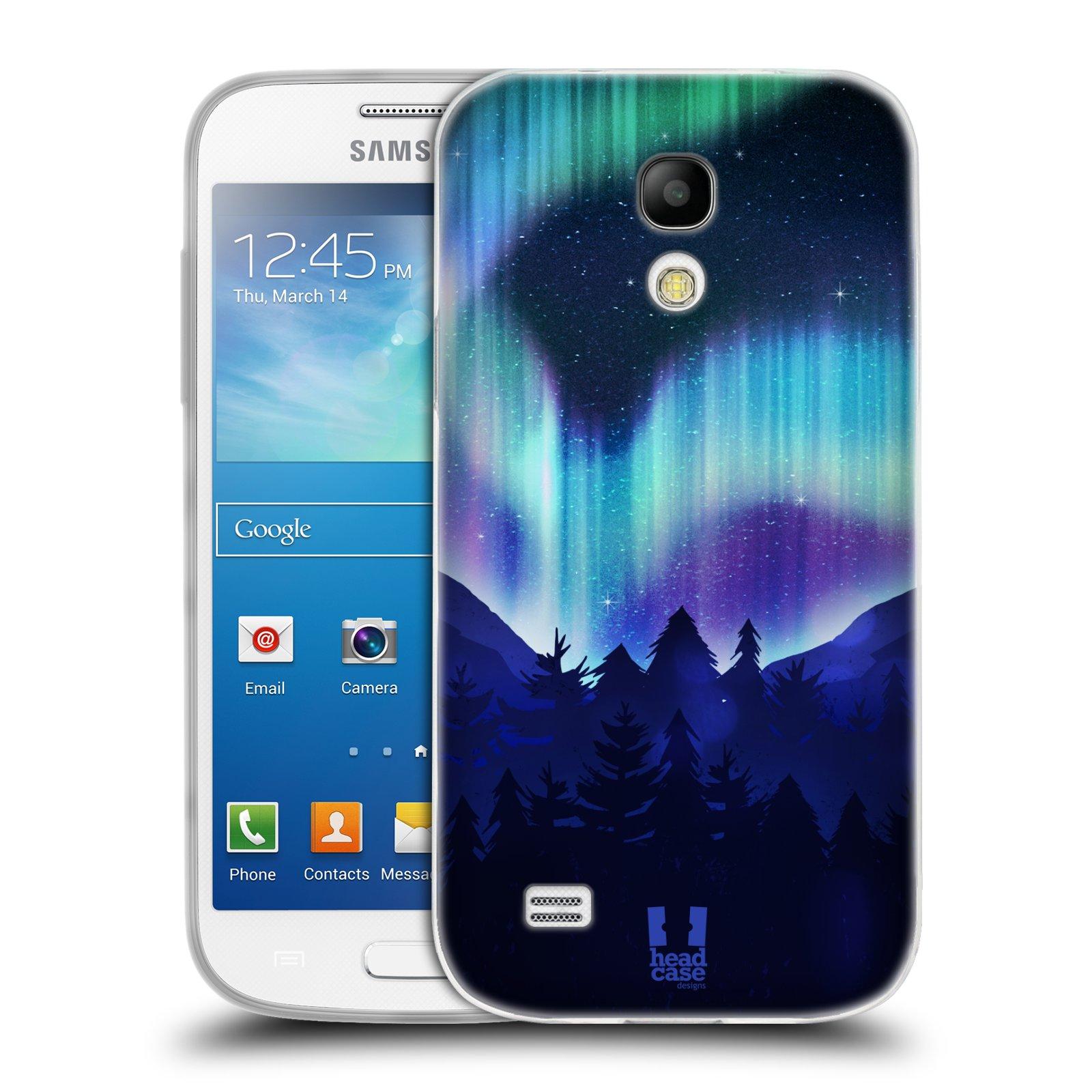 Silikonové pouzdro na mobil Samsung Galaxy S4 Mini HEAD CASE Polární Záře Borovice (Silikonový kryt či obal na mobilní telefon Samsung Galaxy S4 Mini GT-i9195 / i9190)