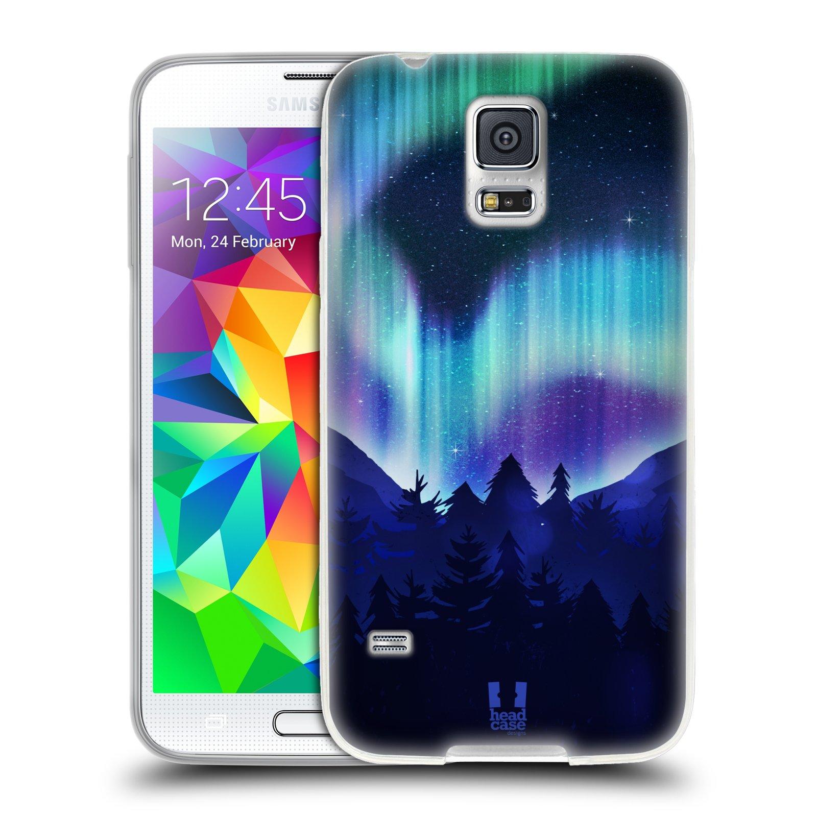 Silikonové pouzdro na mobil Samsung Galaxy S5 HEAD CASE Polární Záře Borovice (Silikonový kryt či obal na mobilní telefon Samsung Galaxy S5 SM-G900F)
