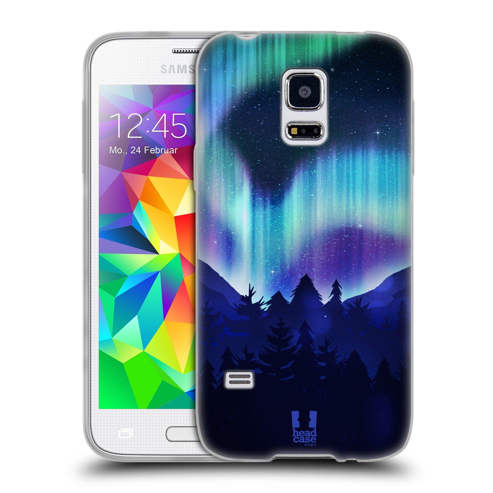 Silikonové pouzdro na mobil Samsung Galaxy S5 Mini HEAD CASE Polární Záře Borovice (Silikonový kryt či obal na mobilní telefon Samsung Galaxy S5 Mini SM-G800F)