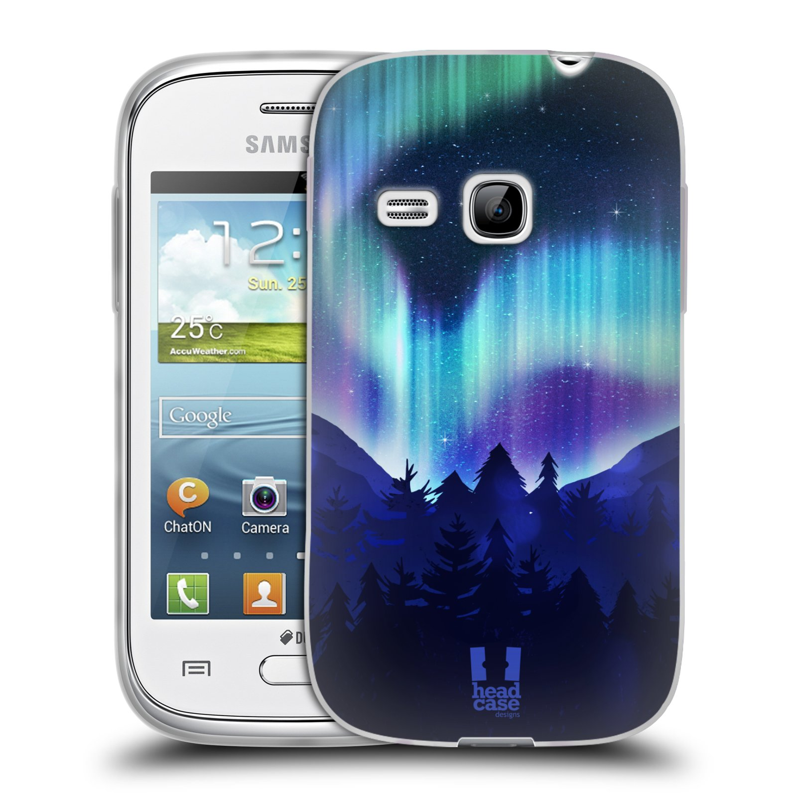 Silikonové pouzdro na mobil Samsung Galaxy Young HEAD CASE Polární Záře Borovice (Silikonový kryt či obal na mobilní telefon Samsung Galaxy Young GT-S6310)