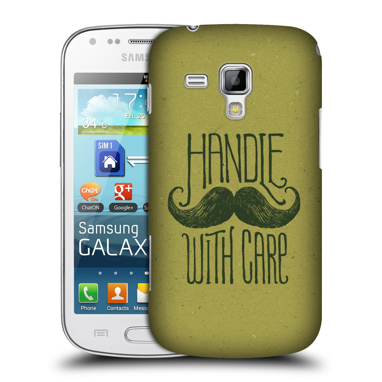 Plastové pouzdro na mobil Samsung Galaxy Trend Plus HEAD CASE KNÍR HANDLE WITH CARE (Plastový kryt či obal na mobilní telefon Samsung Galaxy Trend Plus GT-S7580)