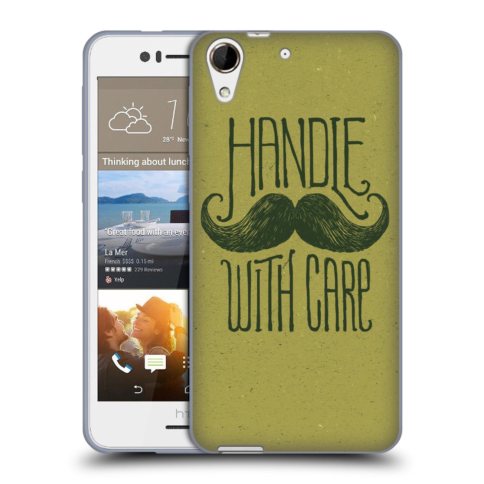 Silikonové pouzdro na mobil HTC Desire 728G Dual SIM HEAD CASE KNÍR HANDLE WITH CARE (Silikonový kryt či obal na mobilní telefon HTC Desire 728 G Dual SIM)