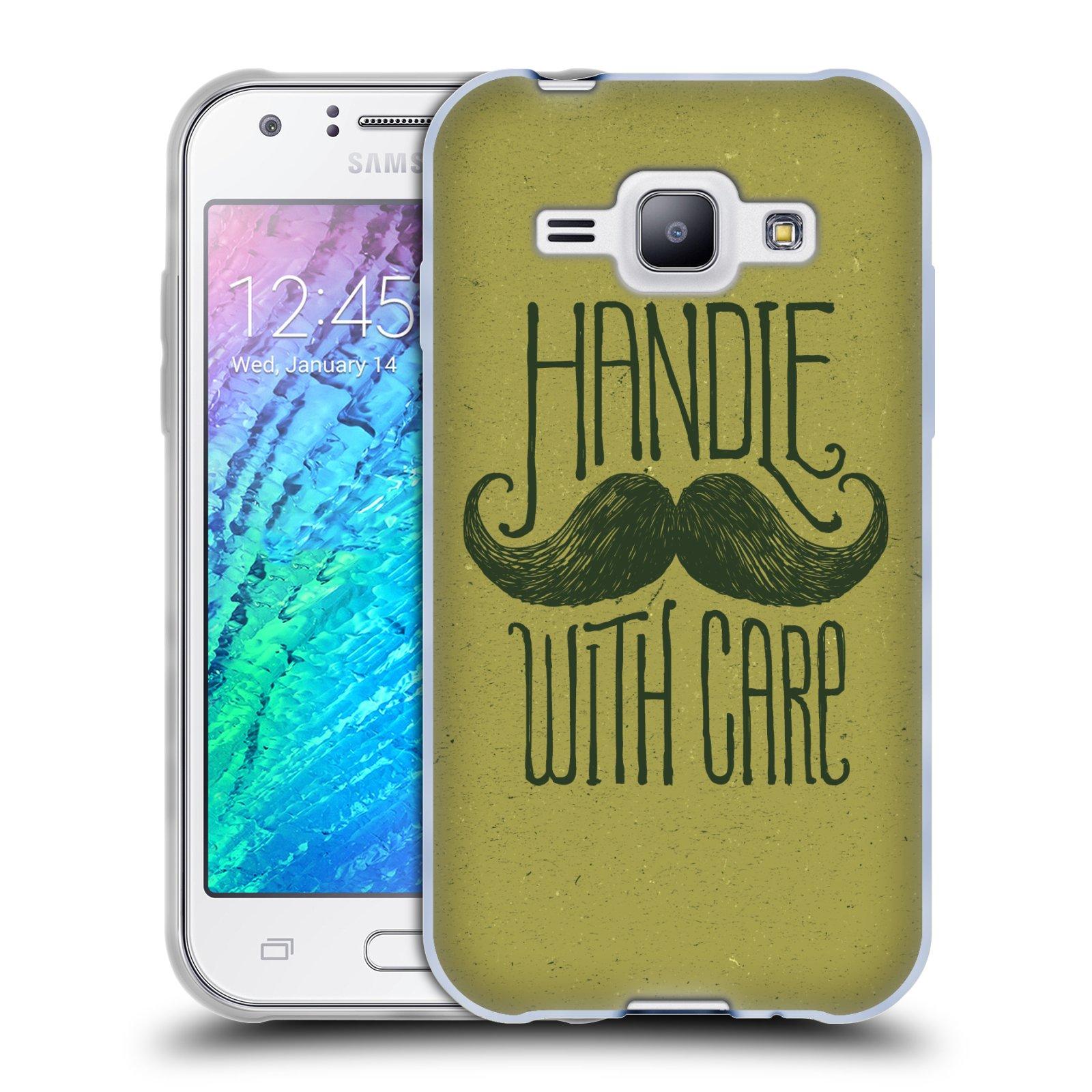 Silikonové pouzdro na mobil Samsung Galaxy J1 HEAD CASE KNÍR HANDLE WITH CARE (Silikonový kryt či obal na mobilní telefon Samsung Galaxy J1 a J1 Duos)