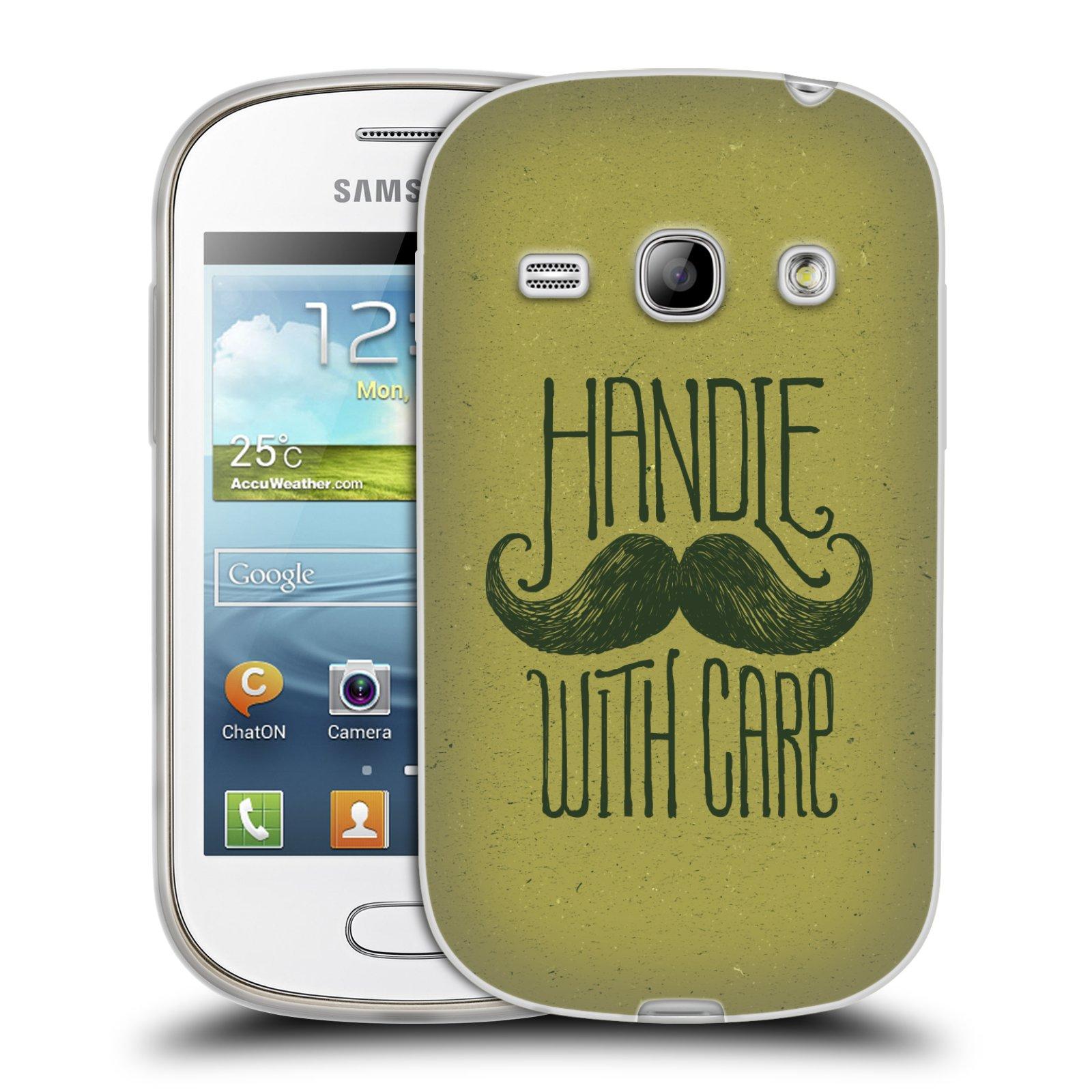 Silikonové pouzdro na mobil Samsung Galaxy Fame HEAD CASE KNÍR HANDLE WITH CARE (Silikonový kryt či obal na mobilní telefon Samsung Galaxy Fame GT-S6810)