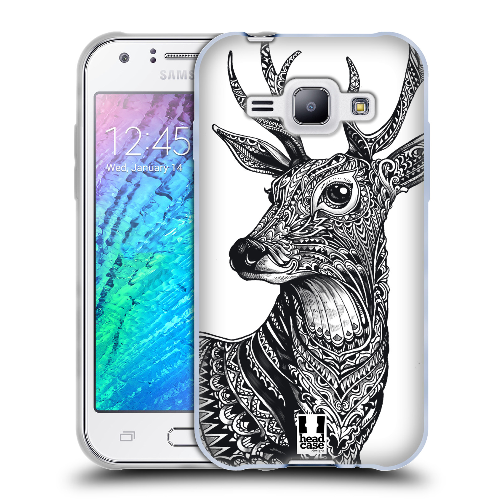 Silikonové pouzdro na mobil Samsung Galaxy J1 HEAD CASE Zdobený Jelínek (Silikonový kryt či obal na mobilní telefon Samsung Galaxy J1 a J1 Duos)
