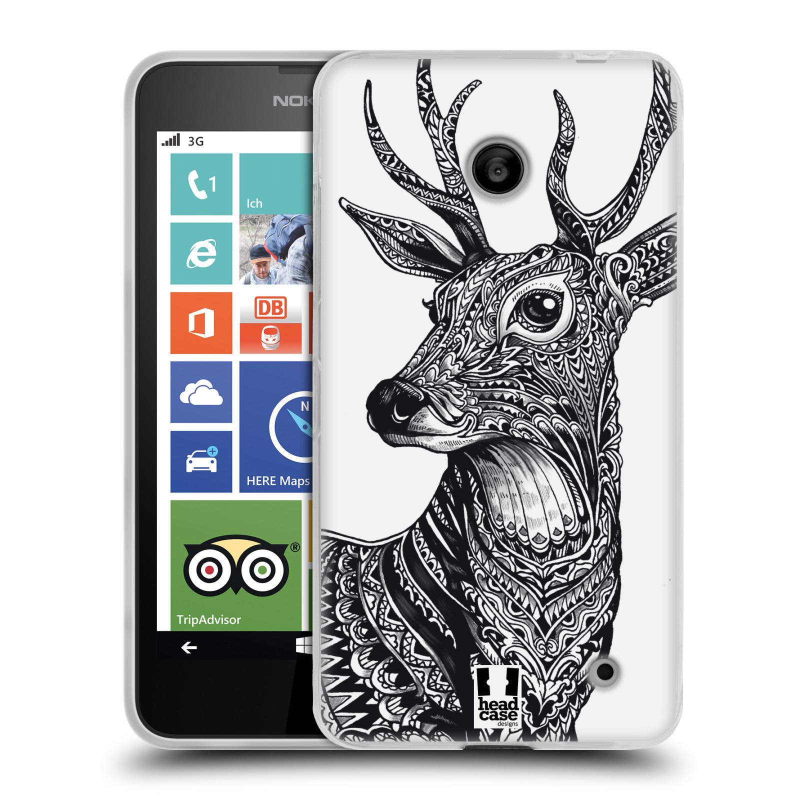 Silikonové pouzdro na mobil Nokia Lumia 630 HEAD CASE Zdobený Jelínek (Silikonový kryt či obal na mobilní telefon Nokia Lumia 630 a Nokia Lumia 630 Dual SIM)
