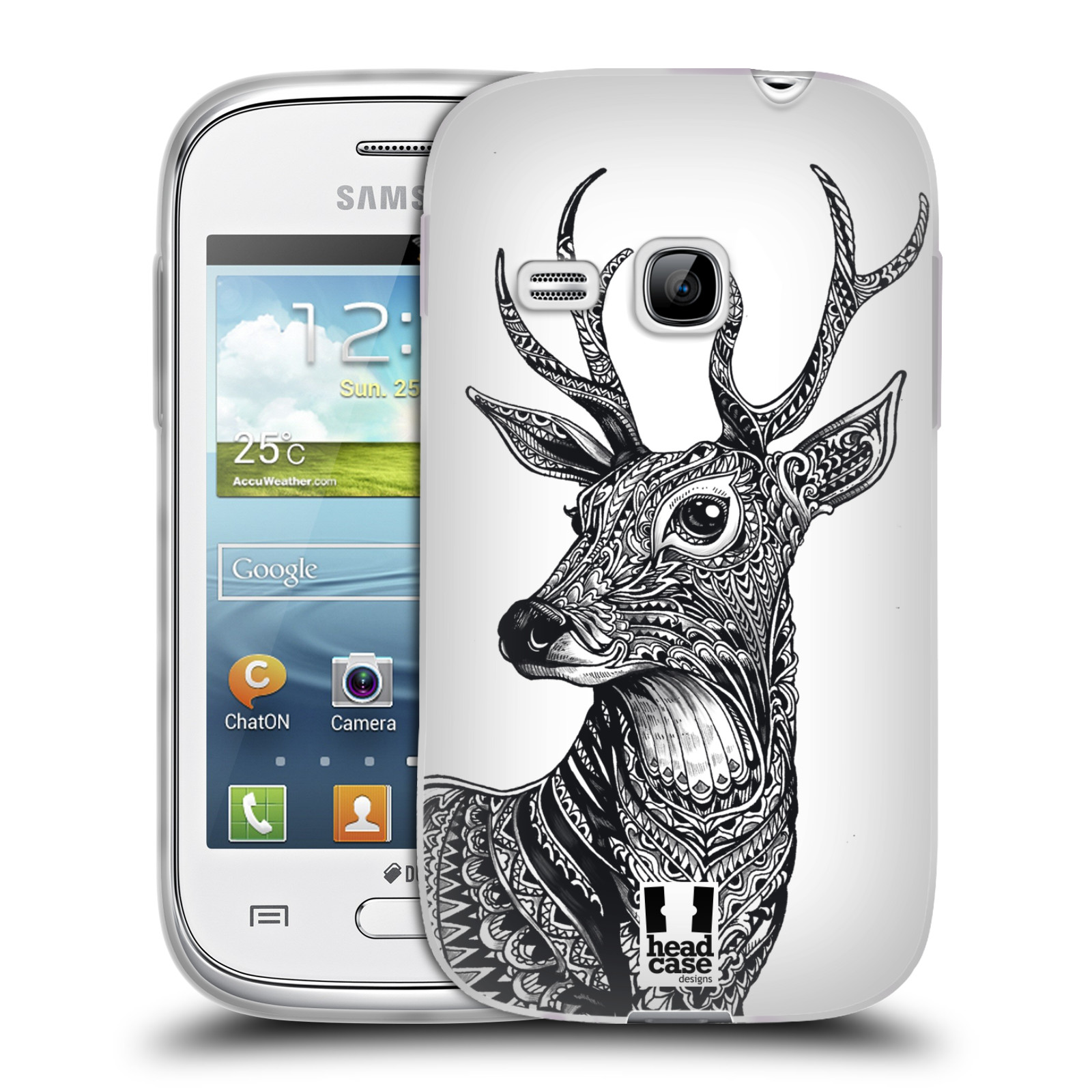 Silikonové pouzdro na mobil Samsung Galaxy Young HEAD CASE Zdobený Jelínek (Silikonový kryt či obal na mobilní telefon Samsung Galaxy Young GT-S6310)