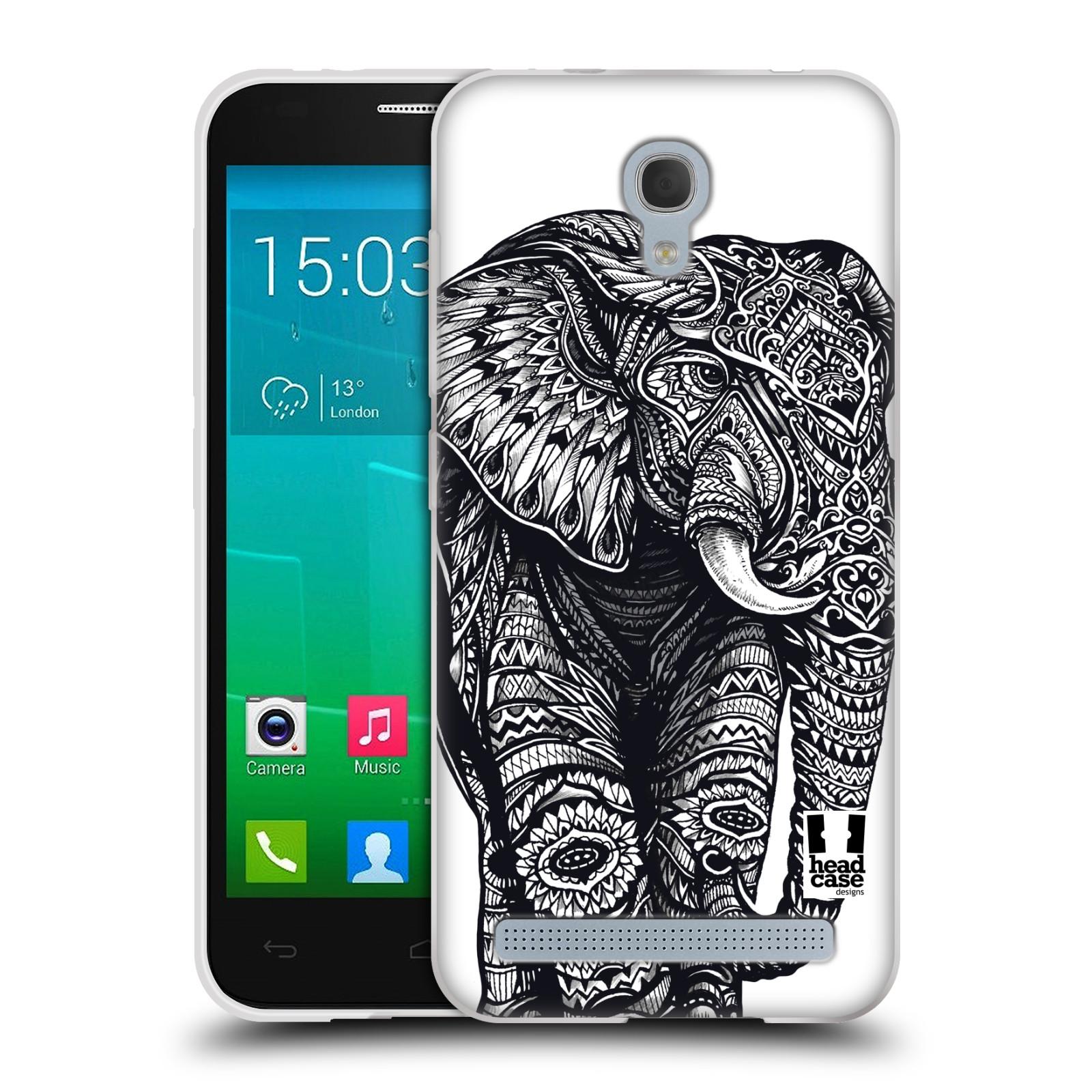 Silikonové pouzdro na mobil Alcatel One Touch Idol 2 Mini S 6036Y HEAD CASE Zdobený Slon (Silikonový kryt či obal na mobilní telefon Alcatel Idol 2 Mini S OT-6036Y)