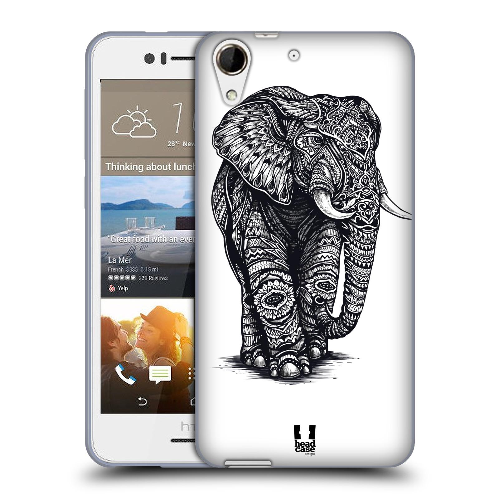Silikonové pouzdro na mobil HTC Desire 728G Dual SIM HEAD CASE Zdobený Slon (Silikonový kryt či obal na mobilní telefon HTC Desire 728 G Dual SIM)