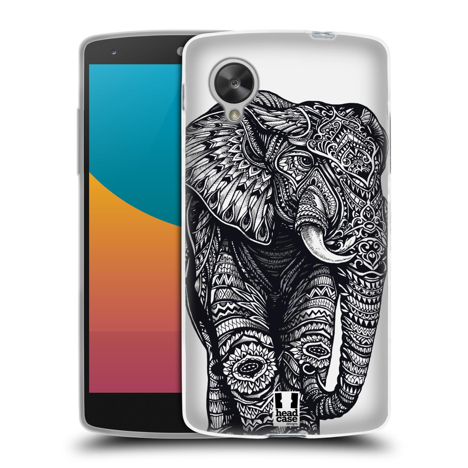 Silikonové pouzdro na mobil LG Nexus 5 HEAD CASE Zdobený Slon (Silikonový kryt či obal na mobilní telefon LG Google Nexus 5 D821)