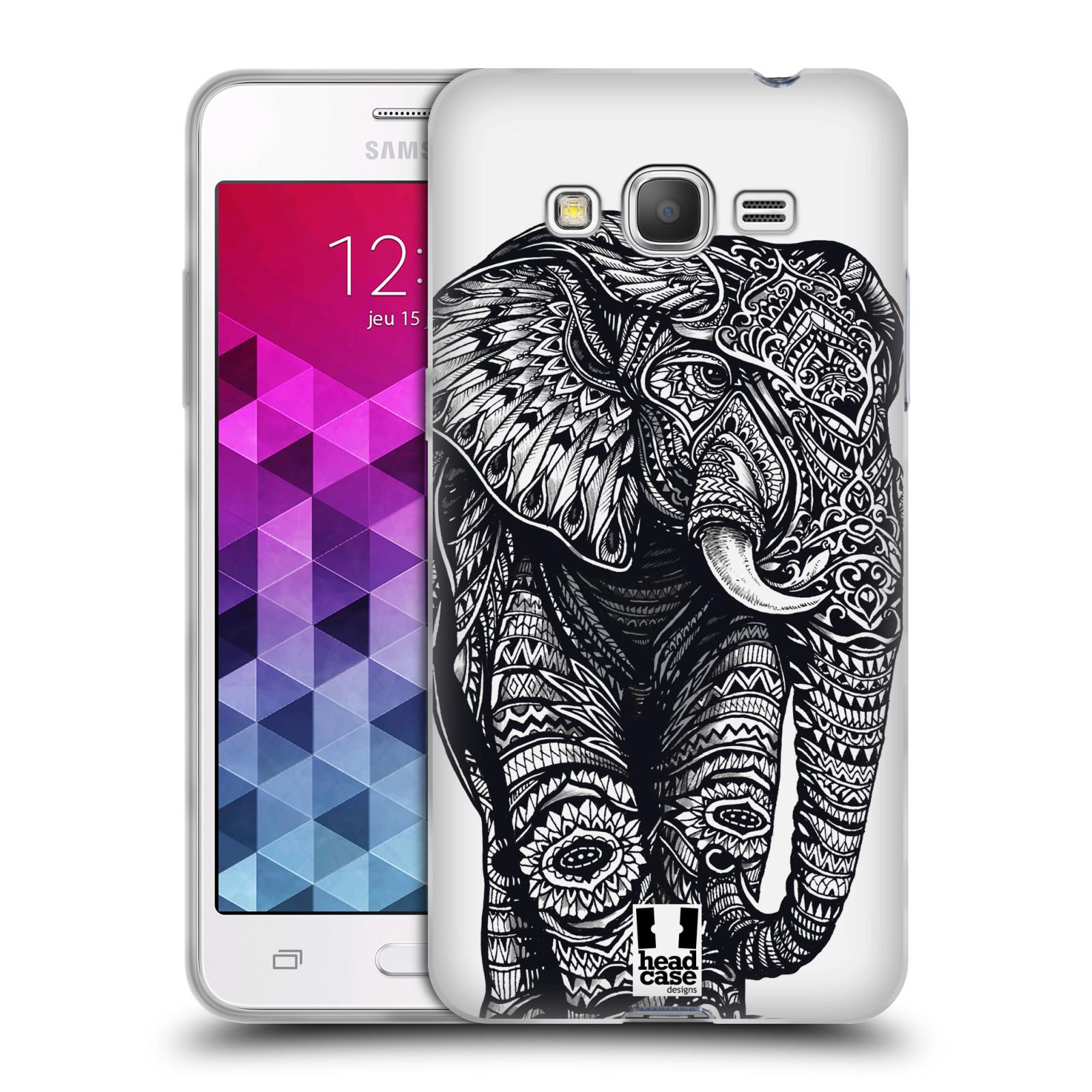 Silikonové pouzdro na mobil Samsung Galaxy Grand Prime HEAD CASE Zdobený Slon