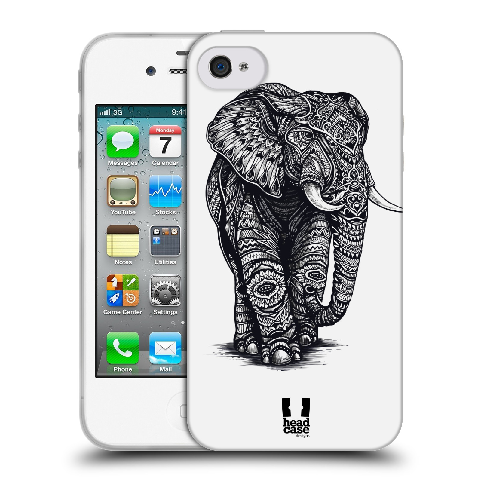 Silikonové pouzdro na mobil Apple iPhone 4 a 4S HEAD CASE Zdobený Slon (Silikonový kryt či obal na mobilní telefon Apple iPhone 4 a 4S)