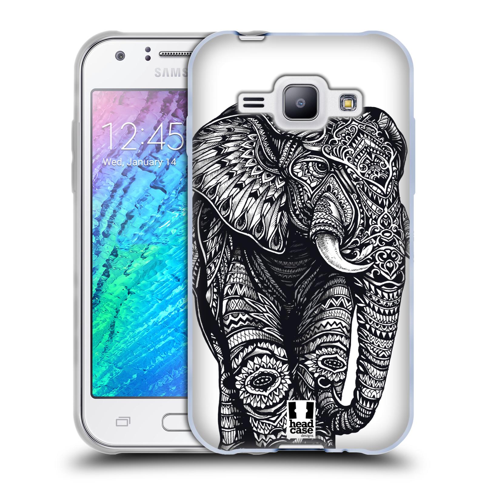 Silikonové pouzdro na mobil Samsung Galaxy J1 HEAD CASE Zdobený Slon (Silikonový kryt či obal na mobilní telefon Samsung Galaxy J1 a J1 Duos)