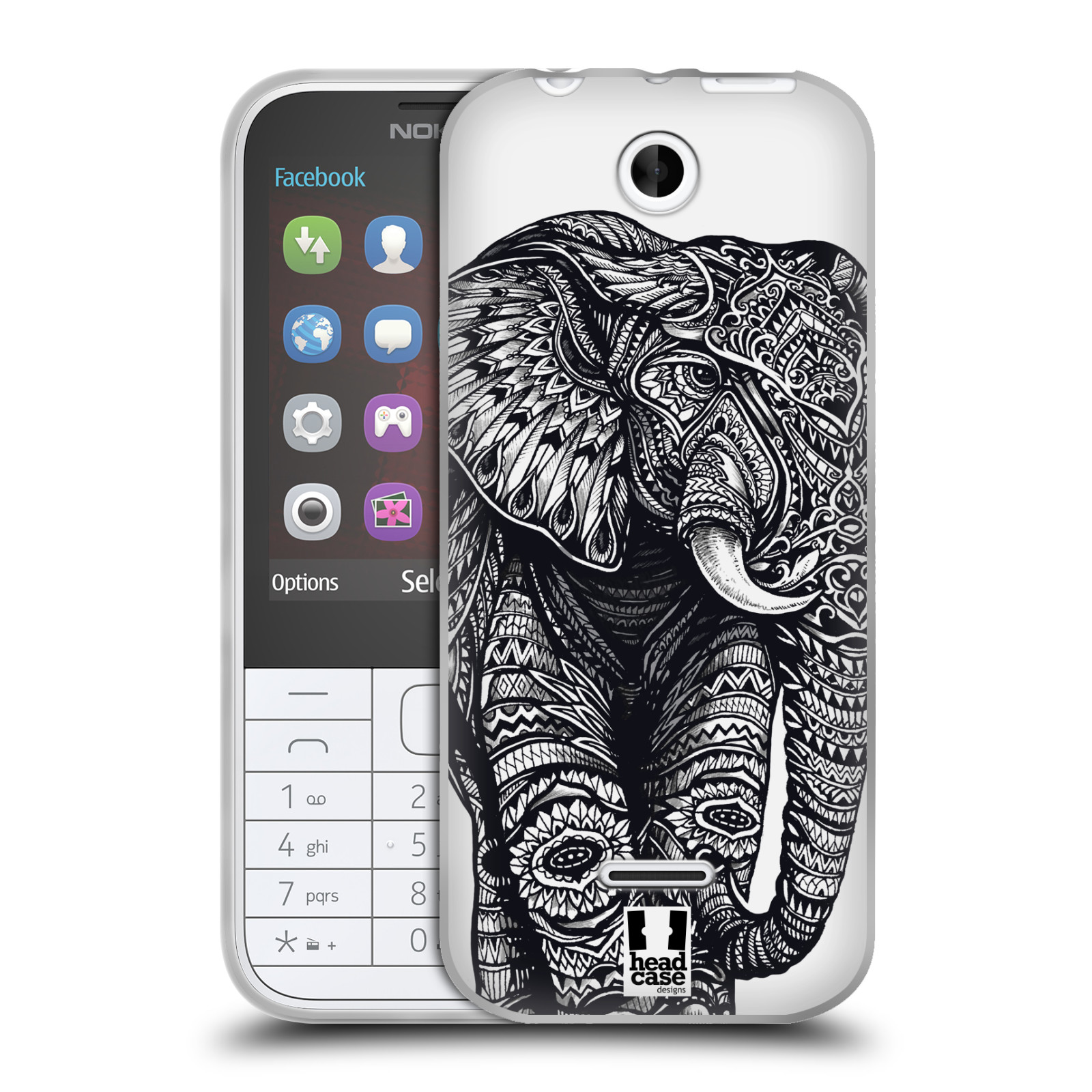 Silikonové pouzdro na mobil Nokia 225 HEAD CASE Zdobený Slon (Silikonový kryt či obal na mobilní telefon Nokia 225)