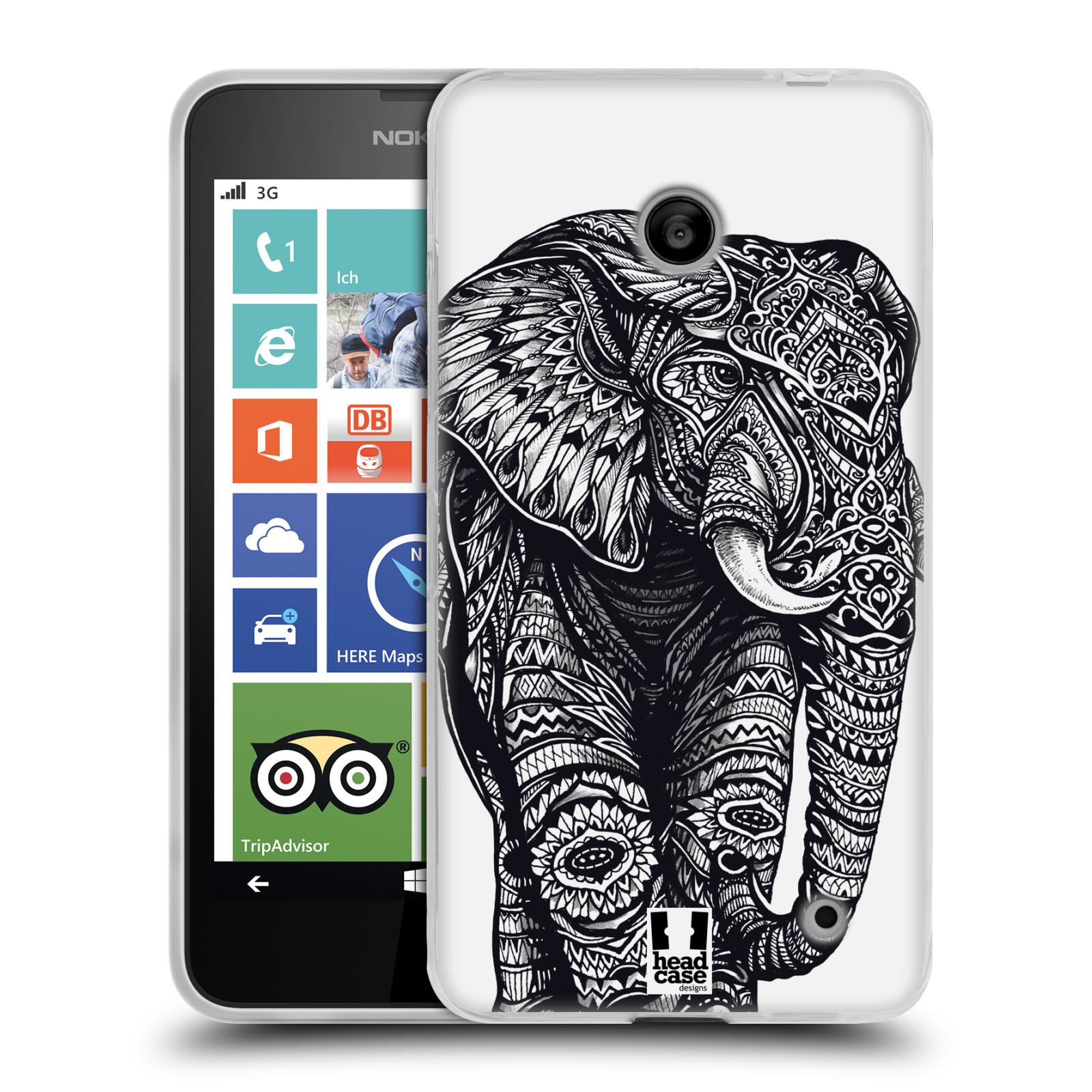 Silikonové pouzdro na mobil Nokia Lumia 630 HEAD CASE Zdobený Slon (Silikonový kryt či obal na mobilní telefon Nokia Lumia 630 a Nokia Lumia 630 Dual SIM)